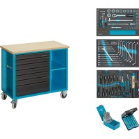 Mobile work bench with assortment