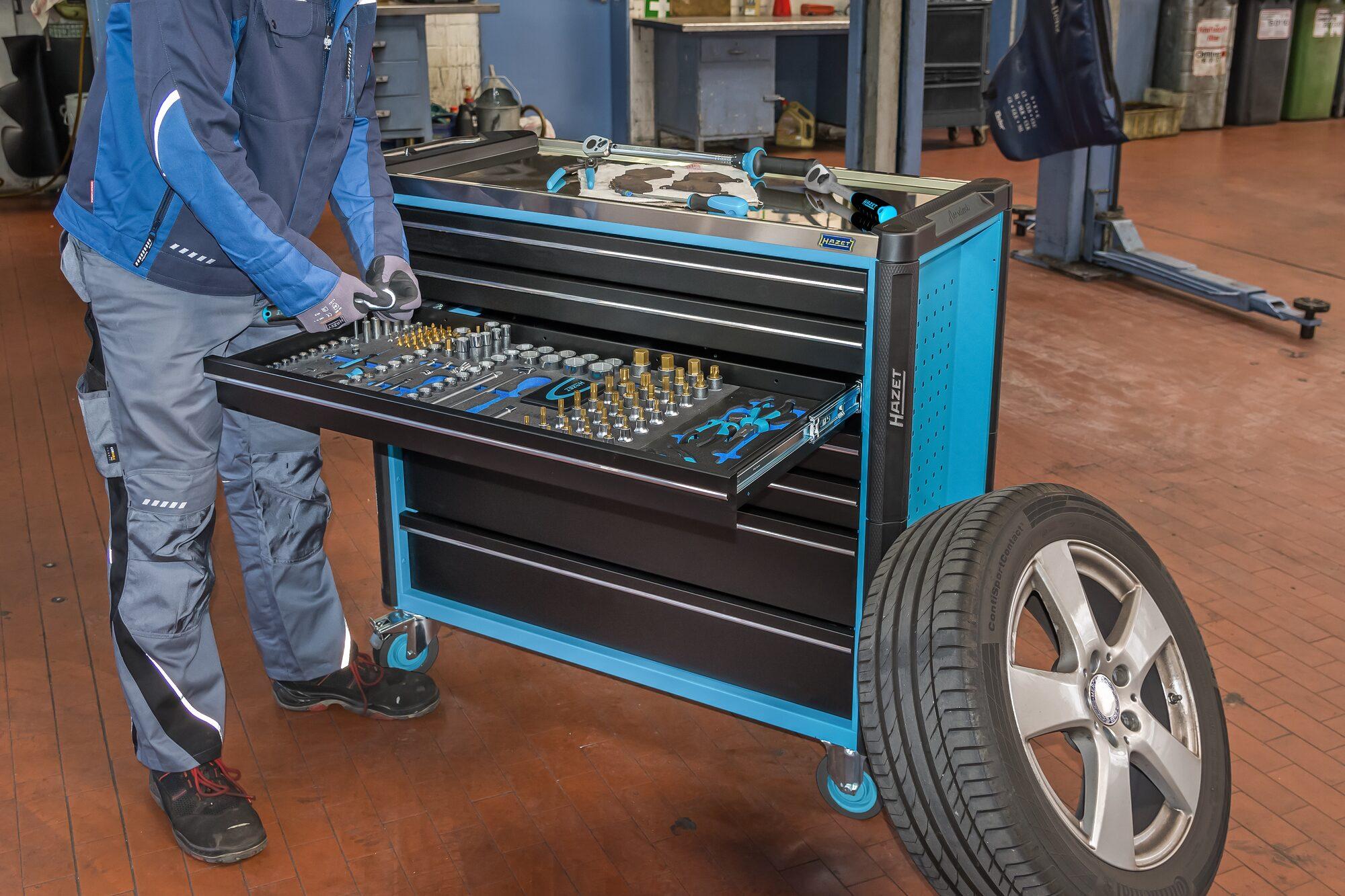 HAZET Werkstattwagen Assistent 179NXXL-8 ∙ Schubladen, flach: 7x 81x870x398 mm