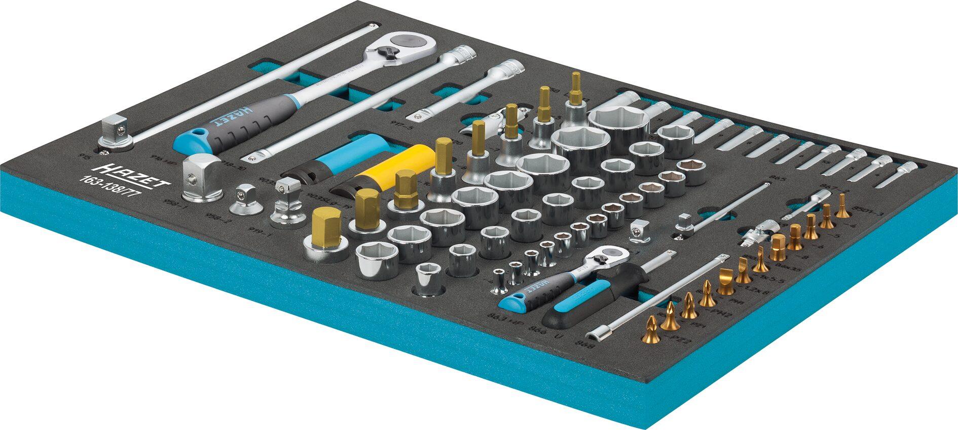 HAZET Steckschlüssel Satz 163-138/77 ∙ Vierkant hohl 12,5 mm (1/2 Zoll), Vierkant hohl 6,3 mm (1/4 Zoll)