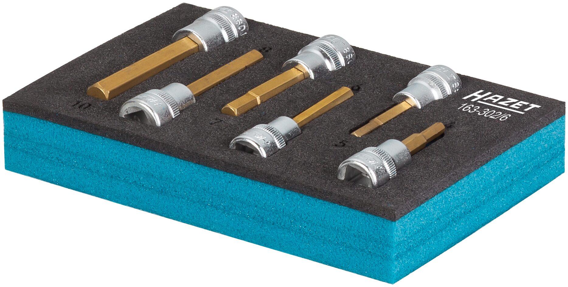 HAZET Schraubendreher-Steckschlüsseleinsatz Satz 163-302/6 ∙ Vierkant hohl 10 mm (3/8 Zoll) ∙ Innen-Sechskant Profil