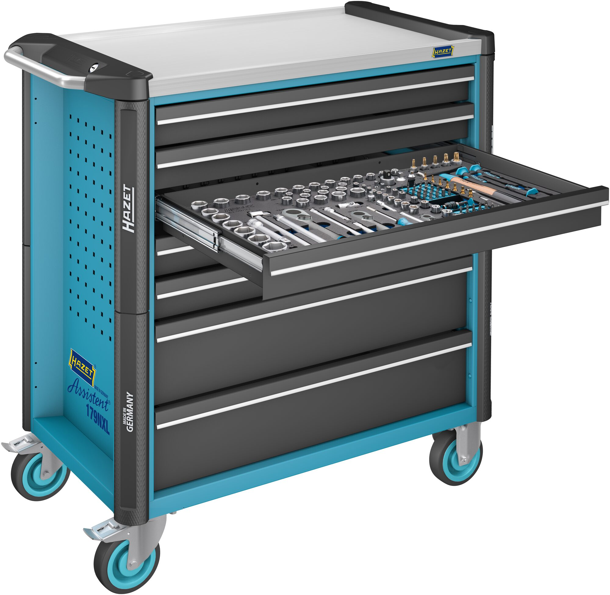 HAZET Werkstattwagen Assistent 179NXL-7/265 ∙ Schubladen, flach: 5x 81x696x398 mm ∙ Anzahl Werkzeuge: 265
