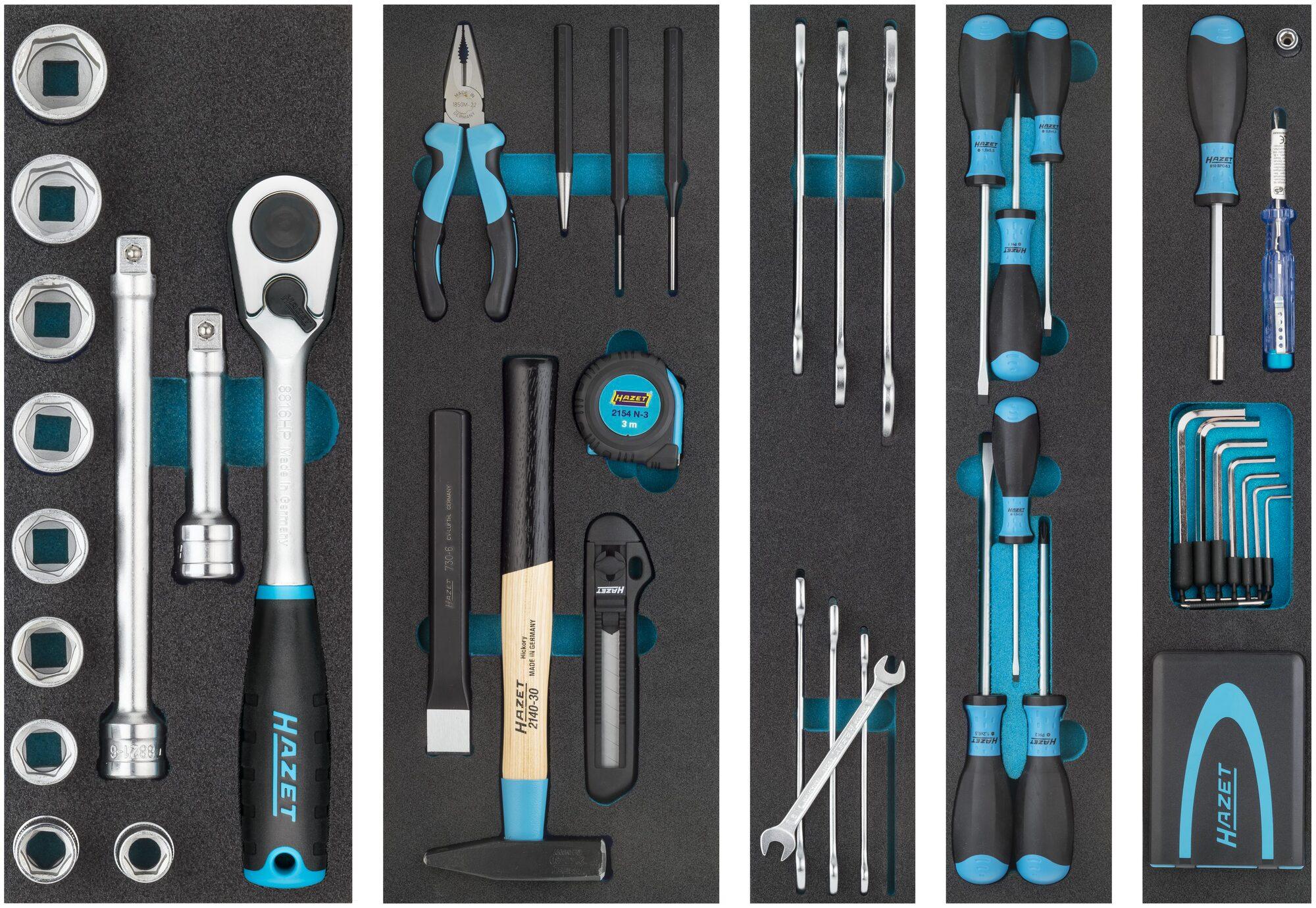 HAZET Metall-Werkzeugkasten ∙ mit Sortiment 190/79 ∙ Anzahl Werkzeuge: 79