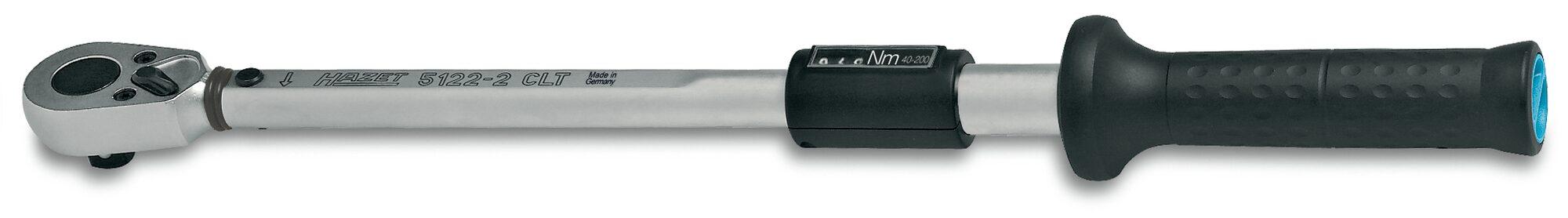 HAZET Drehmoment-Schlüssel 5122-2CLT ∙ Nm min-max: 40–200 Nm ∙ Toleranz: 4% ∙ Vierkant massiv 12,5 mm (1/2 Zoll)