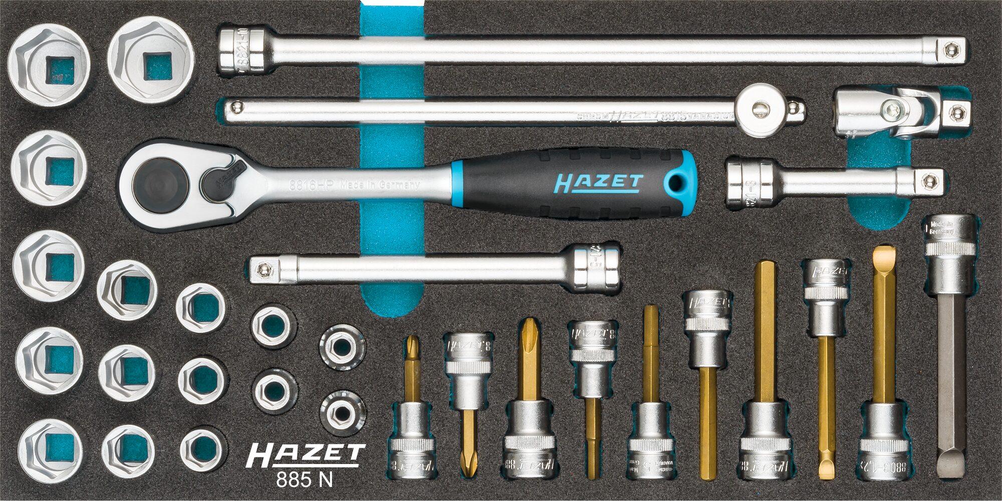 HAZET Steckschlüssel Satz 885N ∙ Vierkant hohl 10 mm (3/8 Zoll) ∙ Anzahl Werkzeuge: 32
