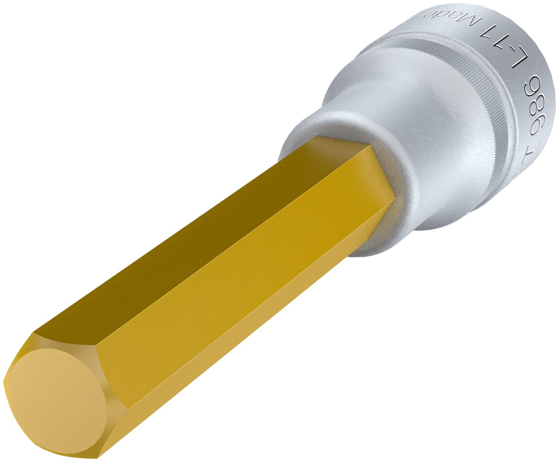 HAZET Schraubendreher-Steckschlüsseleinsatz 986L-11 ∙ Vierkant hohl 12,5 mm (1/2 Zoll) ∙ Innen-Sechskant Profil ∙ 11 mm