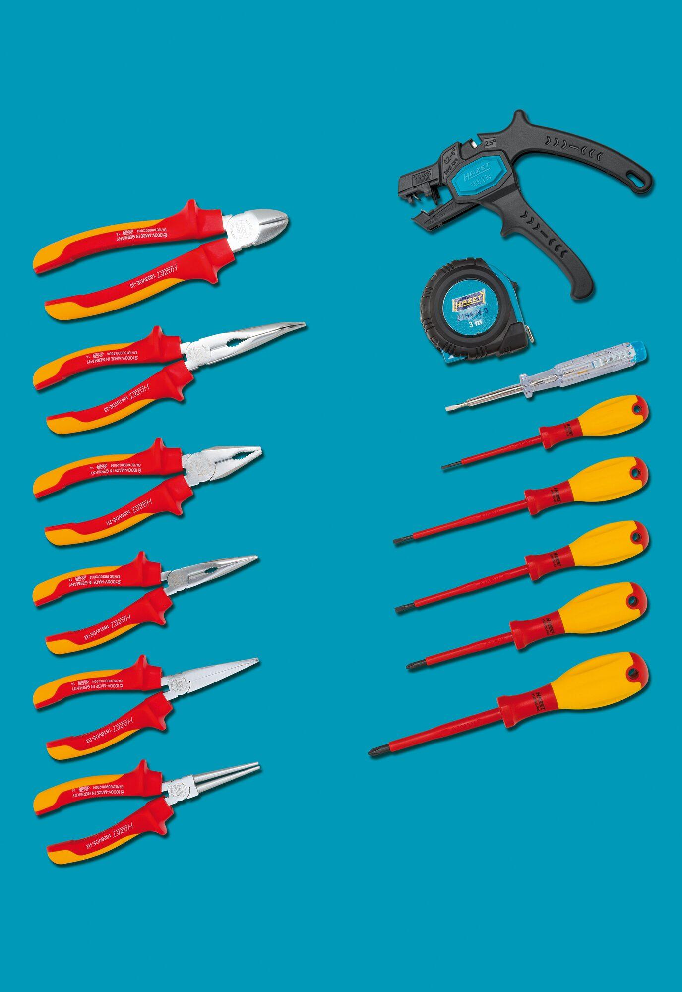 HAZET Werkzeug Sortiment ∙ schutzisoliert 0-20/14 ∙ Anzahl Werkzeuge: 14