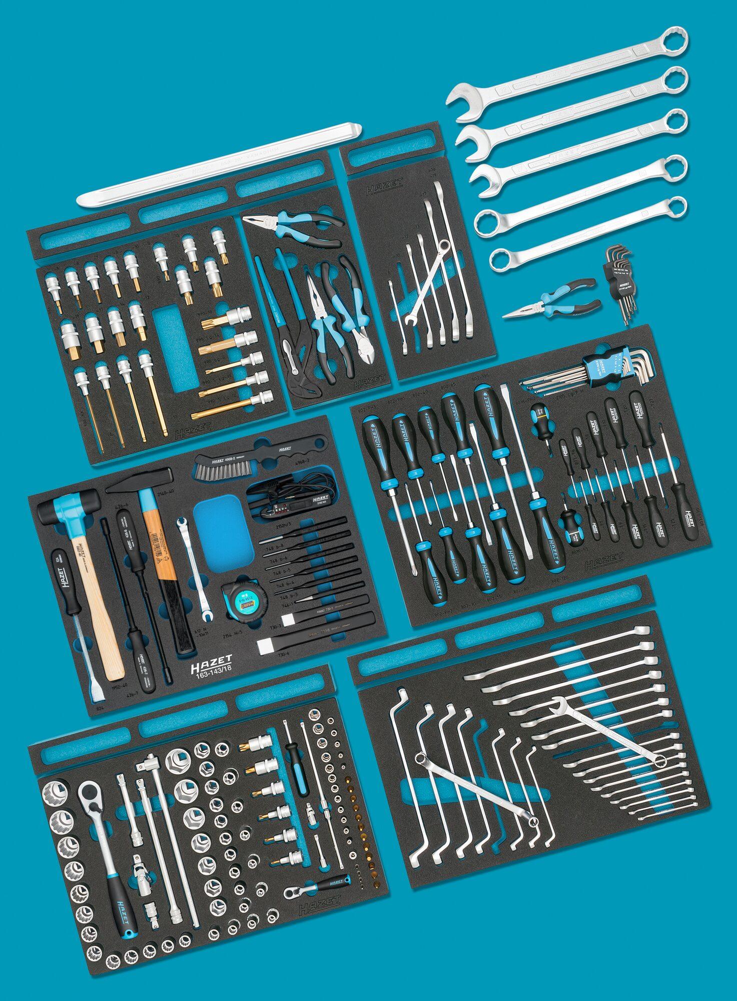 HAZET Standard Sortiment für AUDI 0-2500-163/214 ∙ Anzahl Werkzeuge: 214