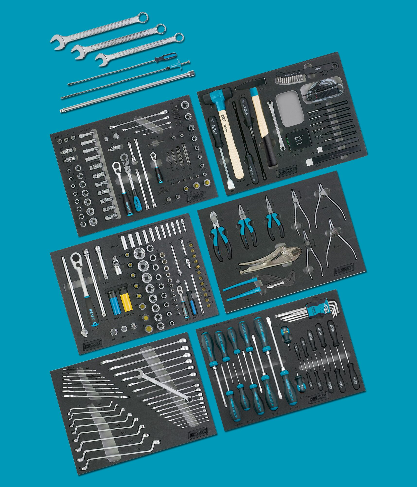 HAZET Werkzeug Sortiment in Weichschaumeinlage 0-2900-163/264-BMW ∙ Anzahl Werkzeuge: 264