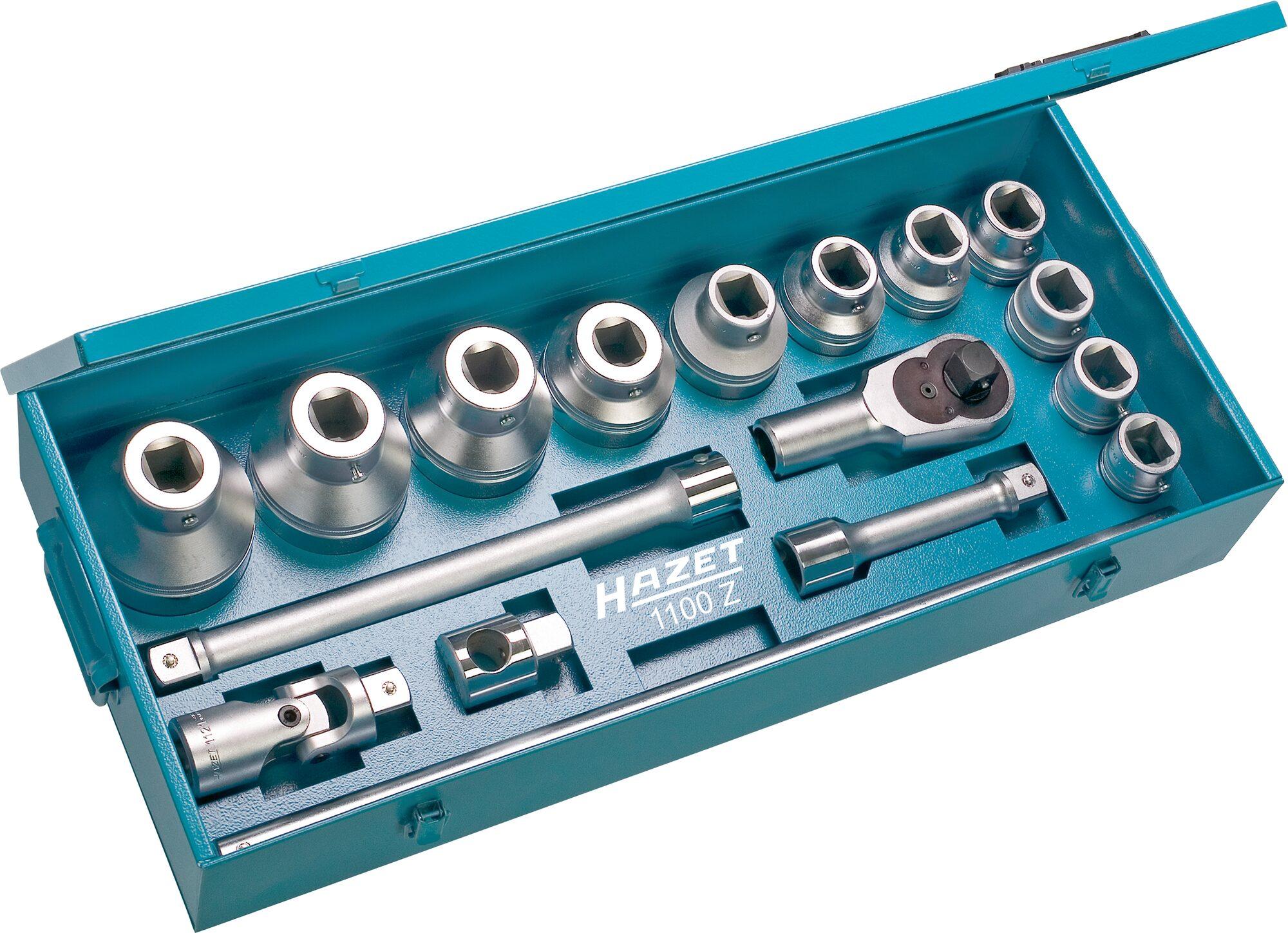 HAZET Steckschlüssel Satz 1100Z ∙ Vierkant hohl 25 mm (1 Zoll) ∙ Außen-Doppel-Sechskant Profil ∙ Anzahl Werkzeuge: 17