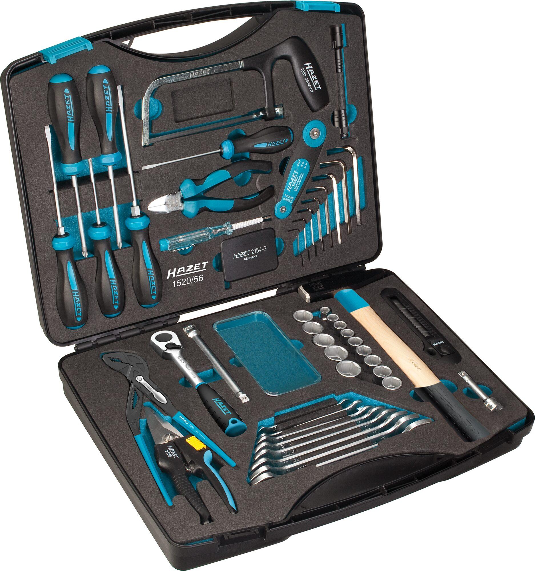 HAZET Werkzeugkoffer 1520/56 ∙ Vierkant hohl 10 mm (3/8 Zoll) ∙ Anzahl Werkzeuge: 56