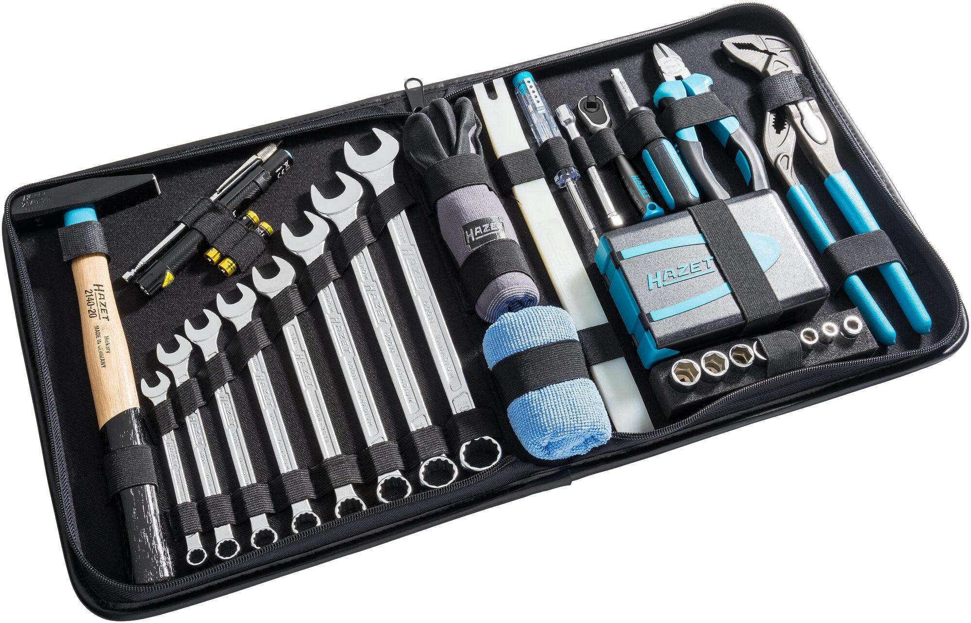 HAZET Premium Werkzeug Ledertasche 1520/64 ∙ Sechskant massiv 6,3 (1/4 Zoll), Vierkant hohl 6,3 mm (1/4 Zoll)