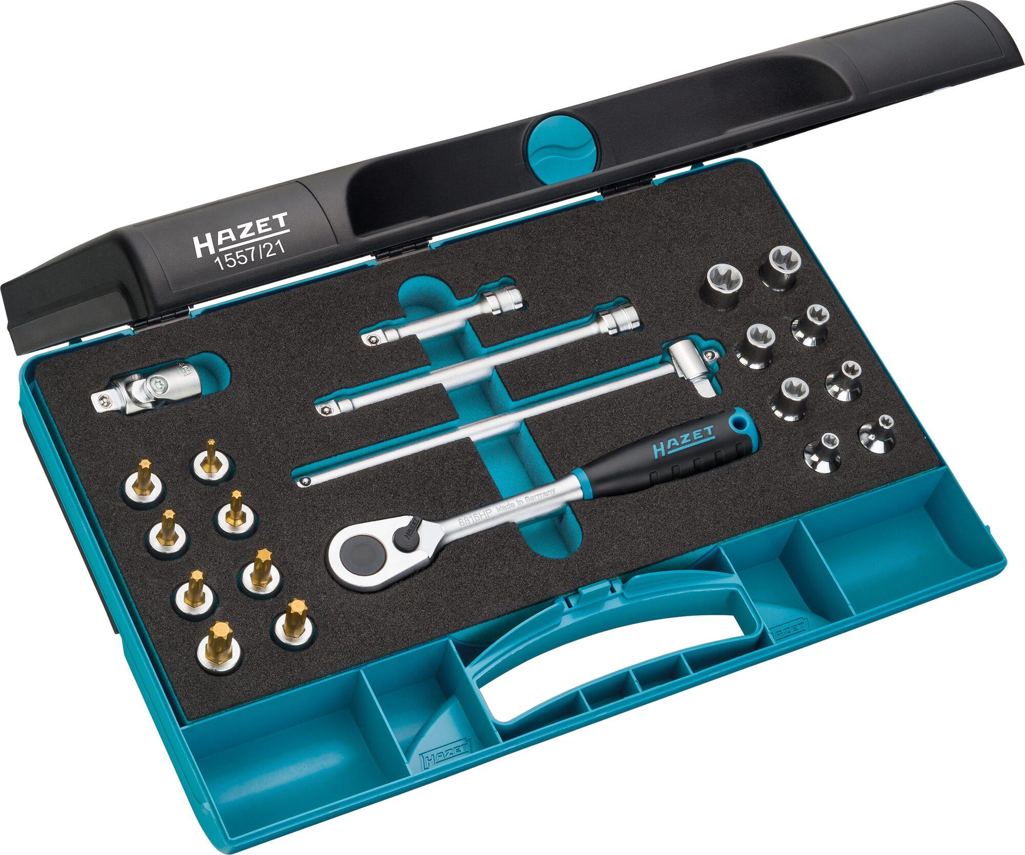 HAZET Werkzeug Satz TORX® 1557/21 ∙ Vierkant hohl 10 mm (3/8 Zoll) ∙ Außen TORX® Profil, Innen TORX® Profil