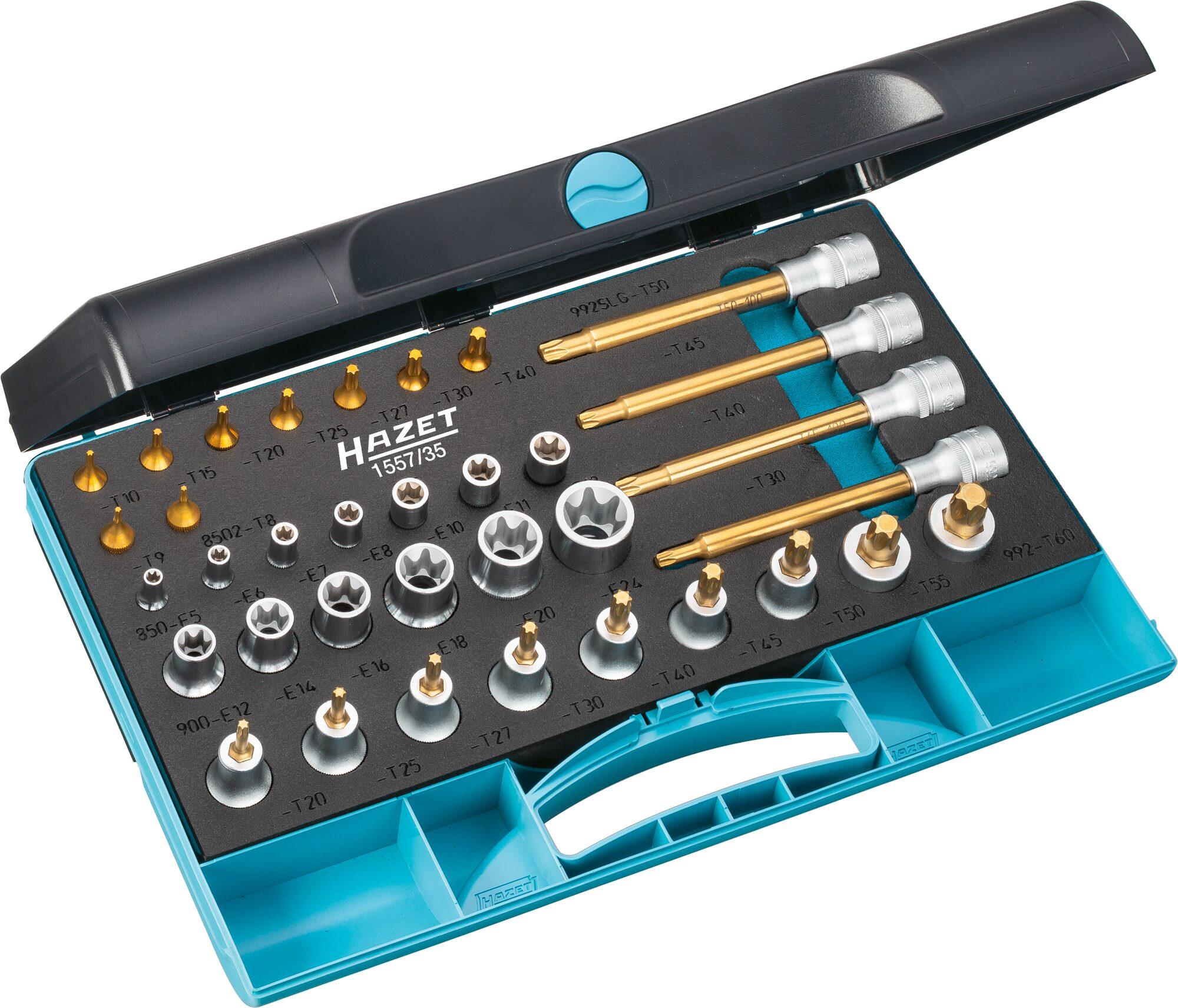 HAZET Werkzeug Satz TORX® 1557/35 ∙ Vierkant hohl 6,3 mm (1/4 Zoll), Vierkant hohl 12,5 mm (1/2 Zoll) ∙ E6–E24