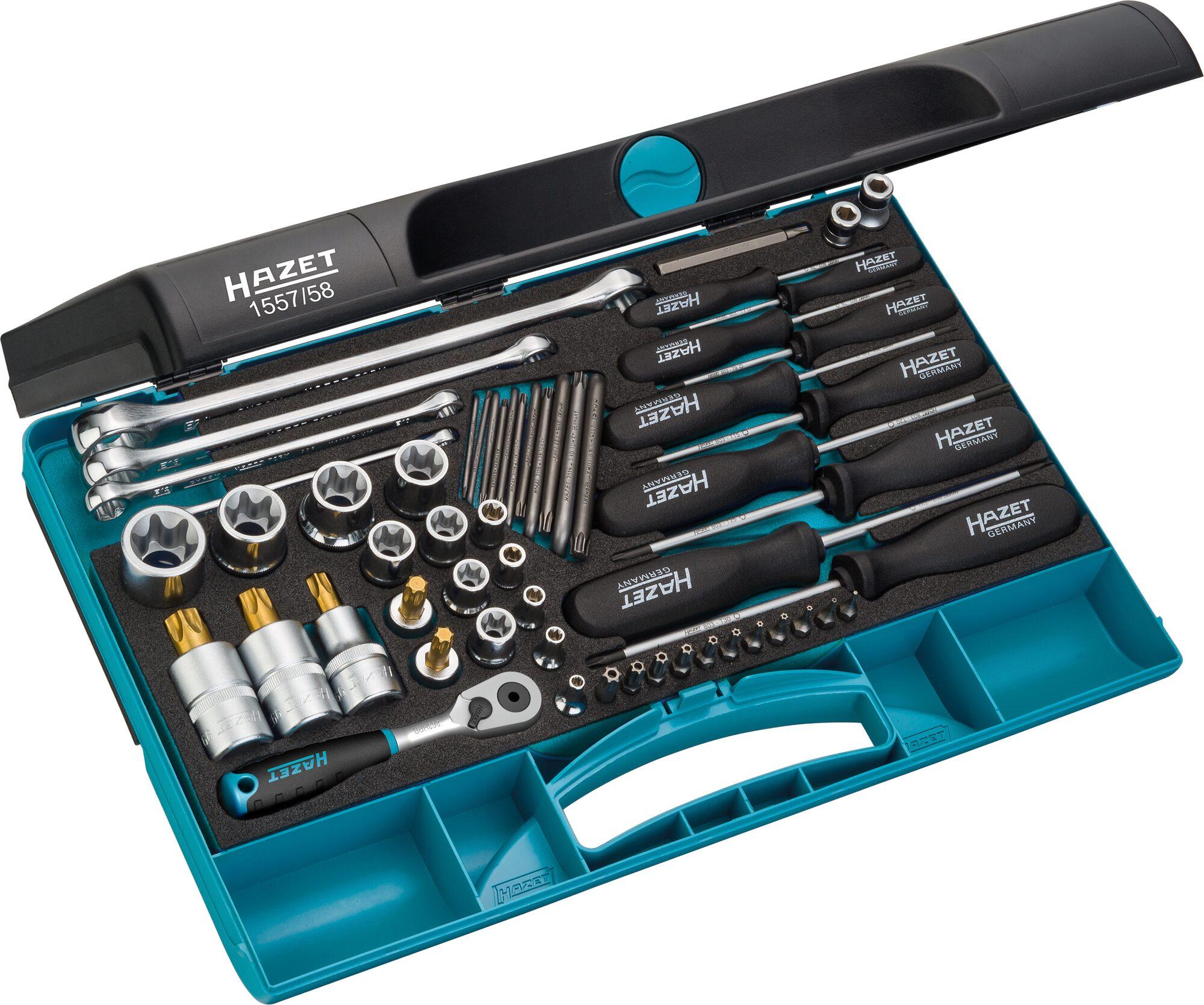 HAZET Werkzeug Satz TORX® 1557/58 ∙ Außen TORX® Profil, Tamper Resistant TORX® Profil, Innen TORX® Profil