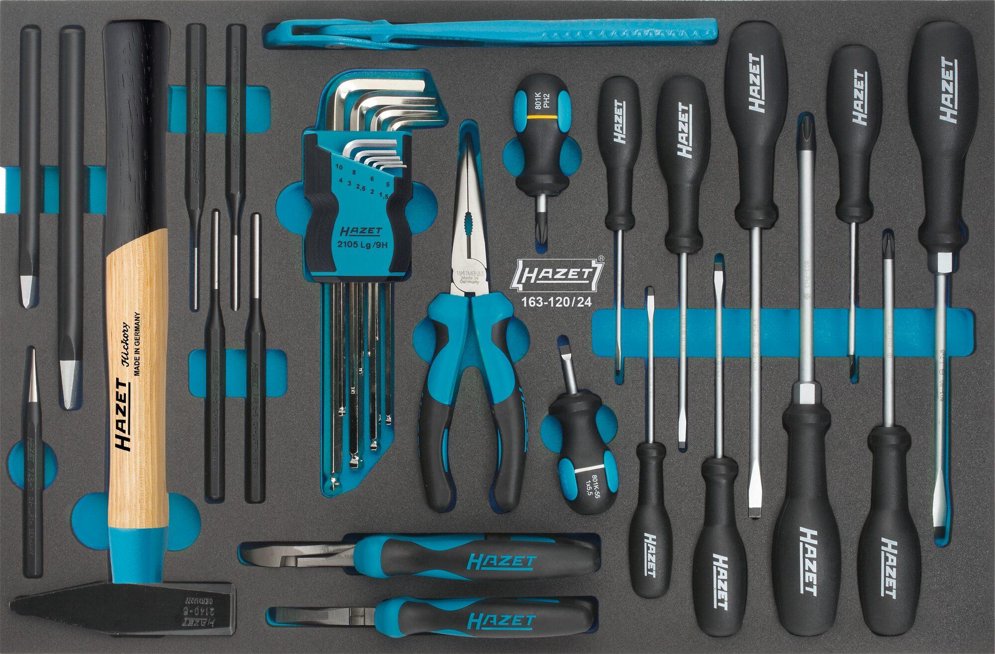 HAZET Universal Satz 163-120/24 ∙ Kreuzschlitz Profil PH, Schlitz Profil, Innen-Sechskant Profil ∙ Anzahl Werkzeuge: 24