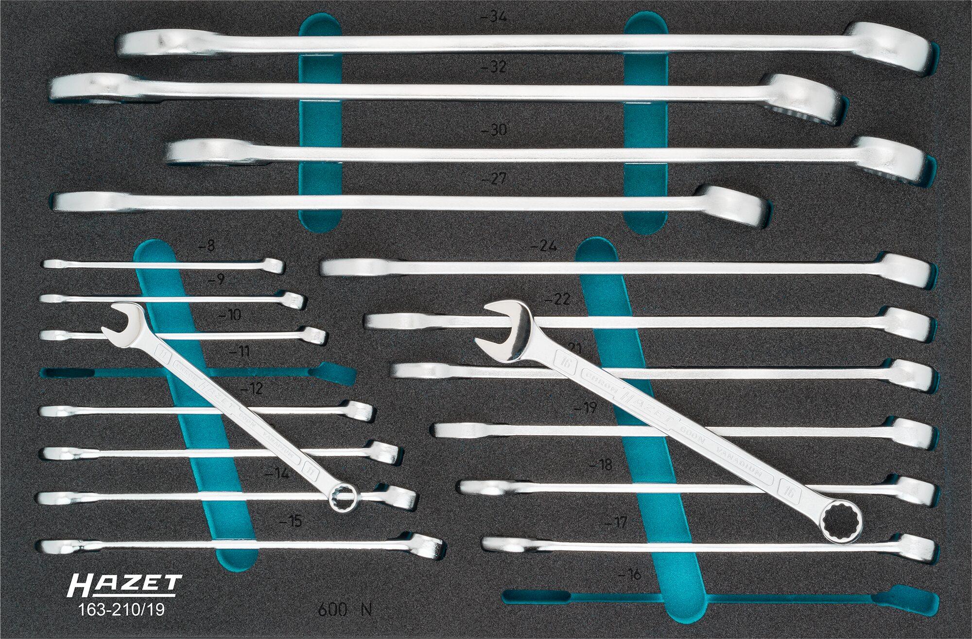 HAZET Ring-Maulschlüssel Satz 163-210/19 ∙ Außen-Doppel-Sechskant-Tractionsprofil ∙ 8 – 34 ∙ Anzahl Werkzeuge: 19