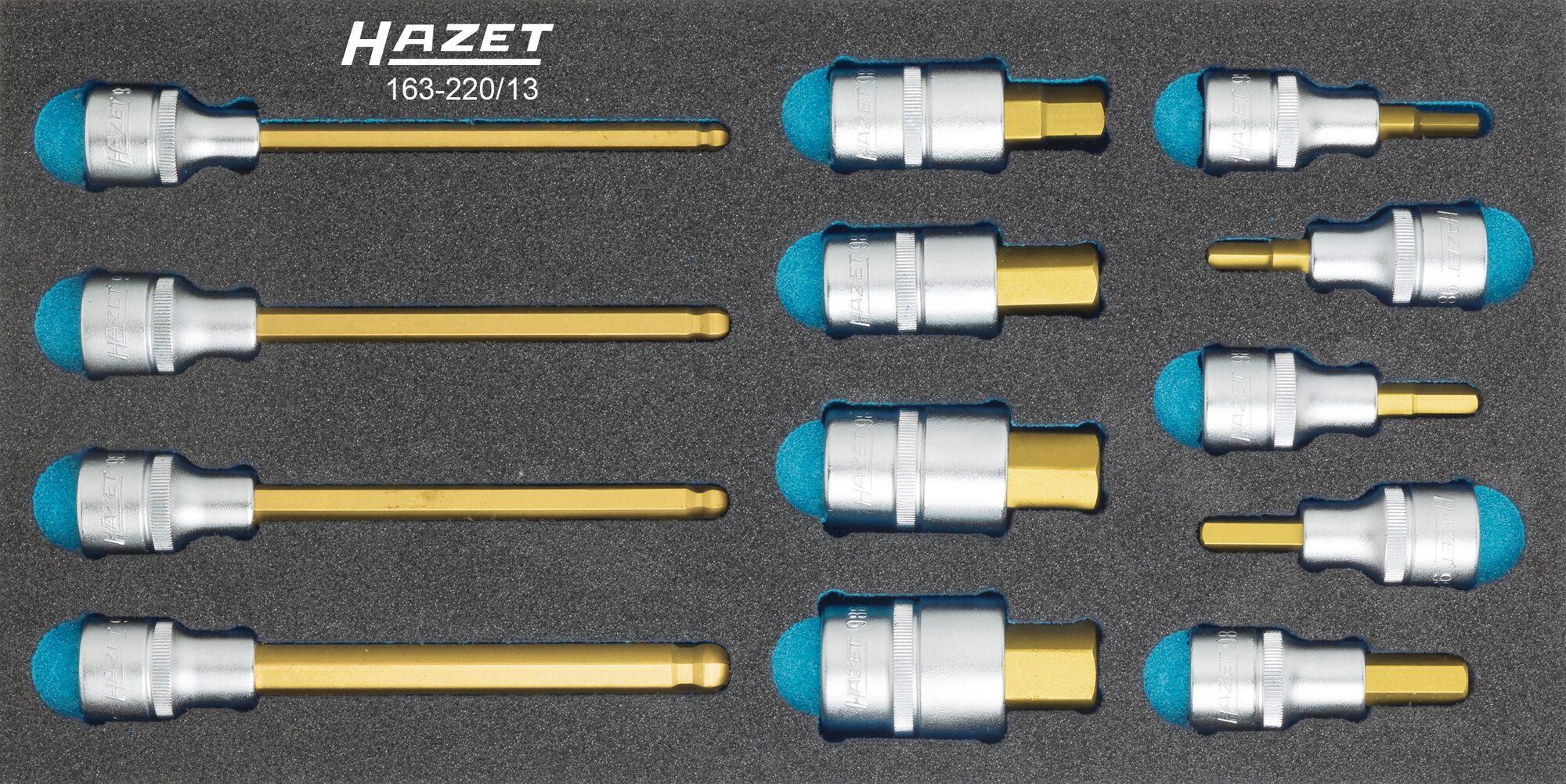 HAZET Schraubendreher-Steckschlüsseleinsatz Satz 163-220/13 ∙ Vierkant hohl 12,5 mm (1/2 Zoll) ∙ Innen-Sechskant Profil