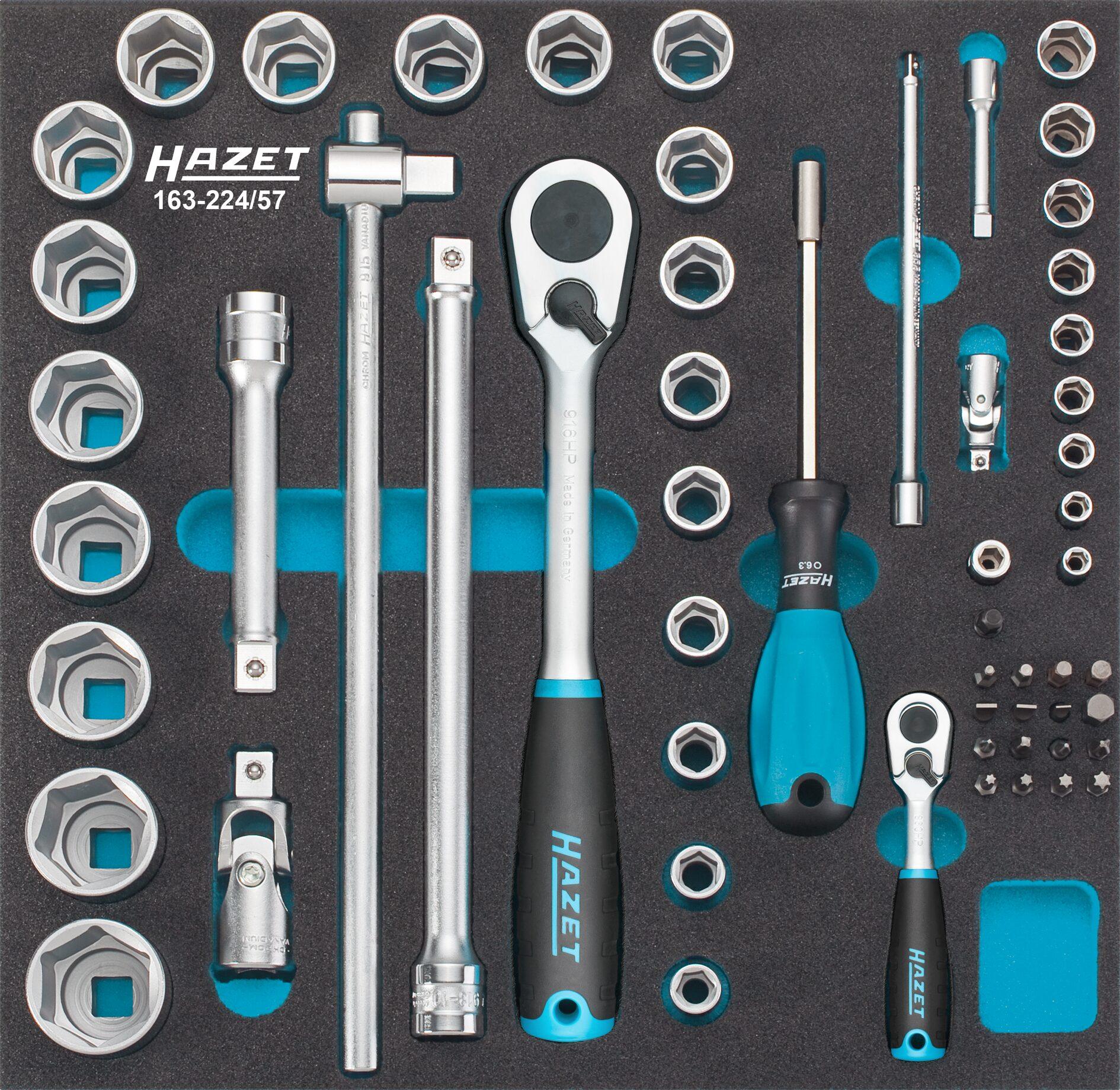 HAZET Steckschlüssel- / Schraubendreher Satz 163-224/57 ∙ Anzahl Werkzeuge: 57