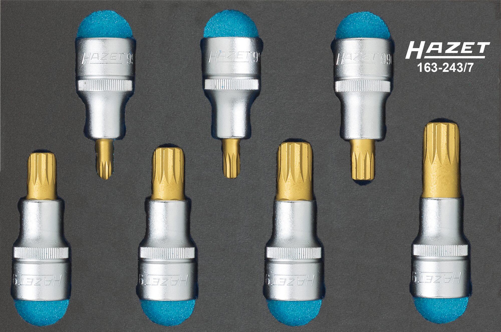 HAZET Schraubendreher-Steckschlüsseleinsatz Satz ∙ XZN 163-243/7 ∙ Vierkant hohl 12,5 mm (1/2 Zoll) ∙ M6–M18