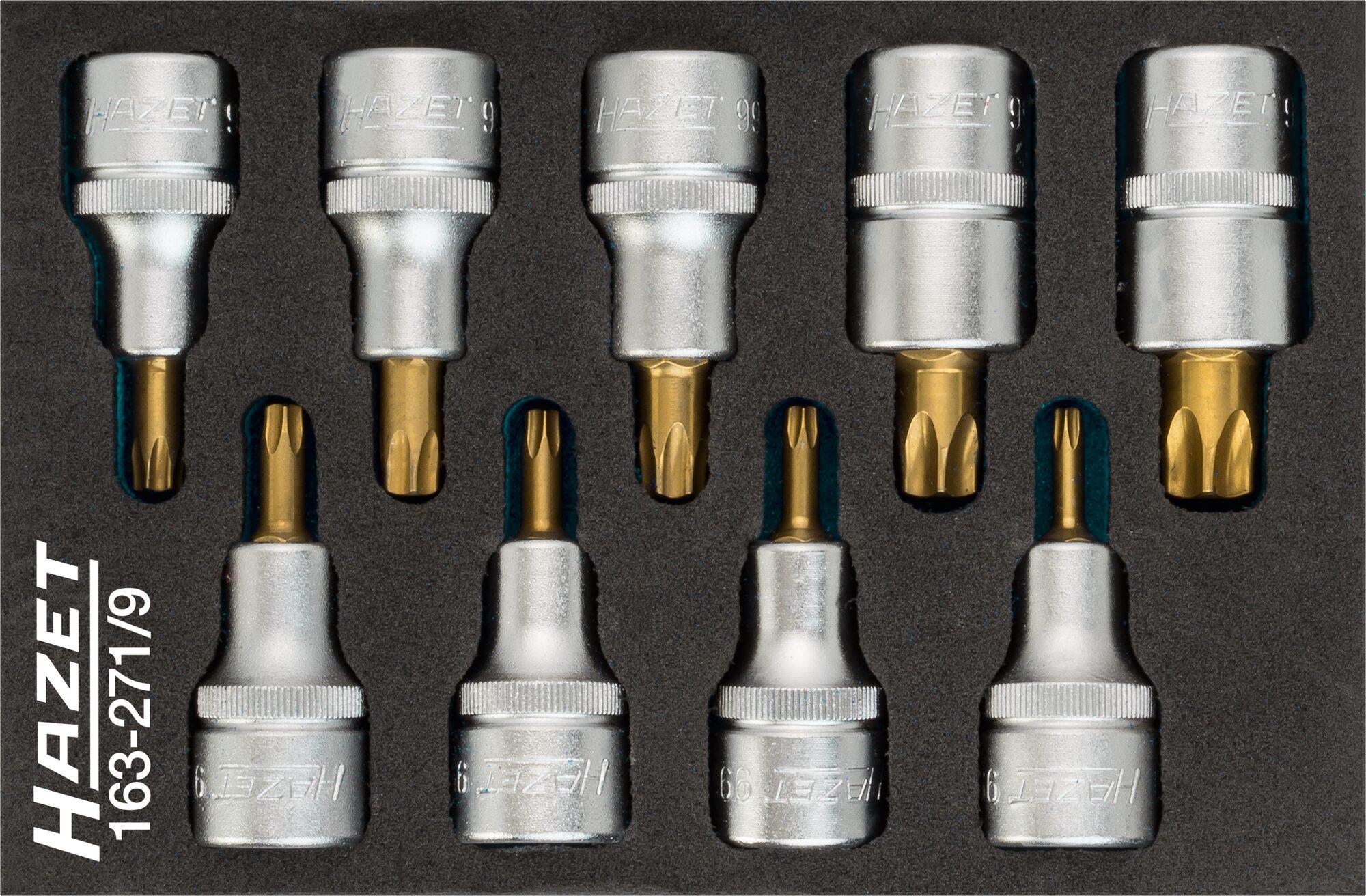 HAZET Schraubendreher-Steckschlüsseleinsatz Satz TORX® 163-271/9 ∙ Vierkant hohl 12,5 mm (1/2 Zoll) ∙ T20–T60
