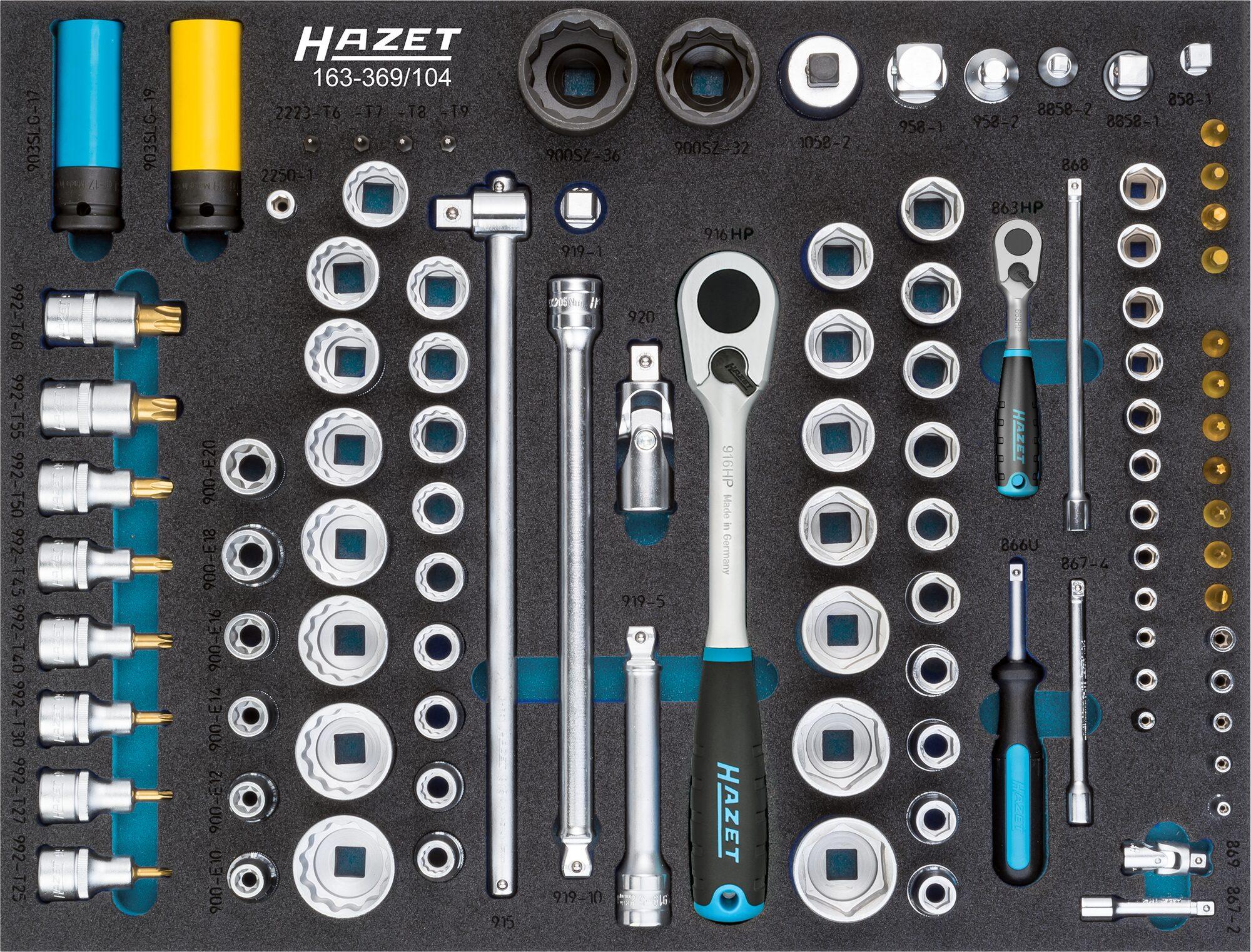 HAZET Steckschlüssel Satz 163-369/104 ∙ Anzahl Werkzeuge: 104