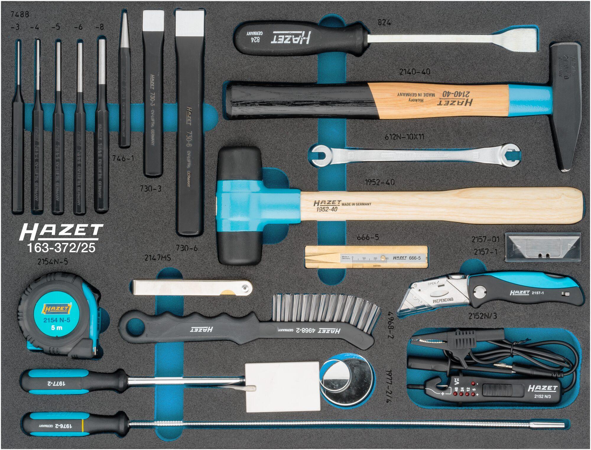 HAZET Universal Satz 163-372/25 ∙ Außen-Sechskant Profil ∙ Anzahl Werkzeuge: 25