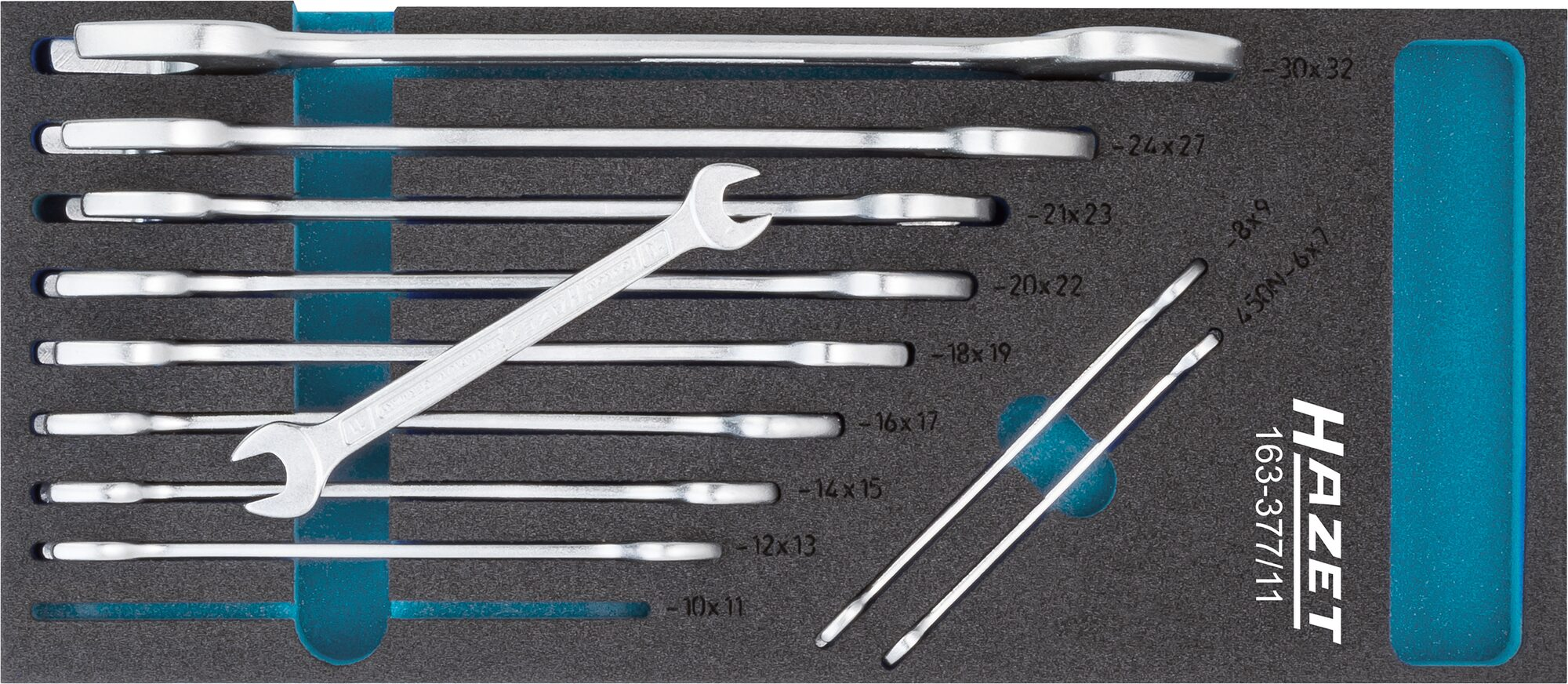 HAZET Doppel-Maulschlüssel Satz 163-377/11 ∙ Außen-Sechskant Profil ∙ 6x7 – 30x32 ∙ Anzahl Werkzeuge: 11