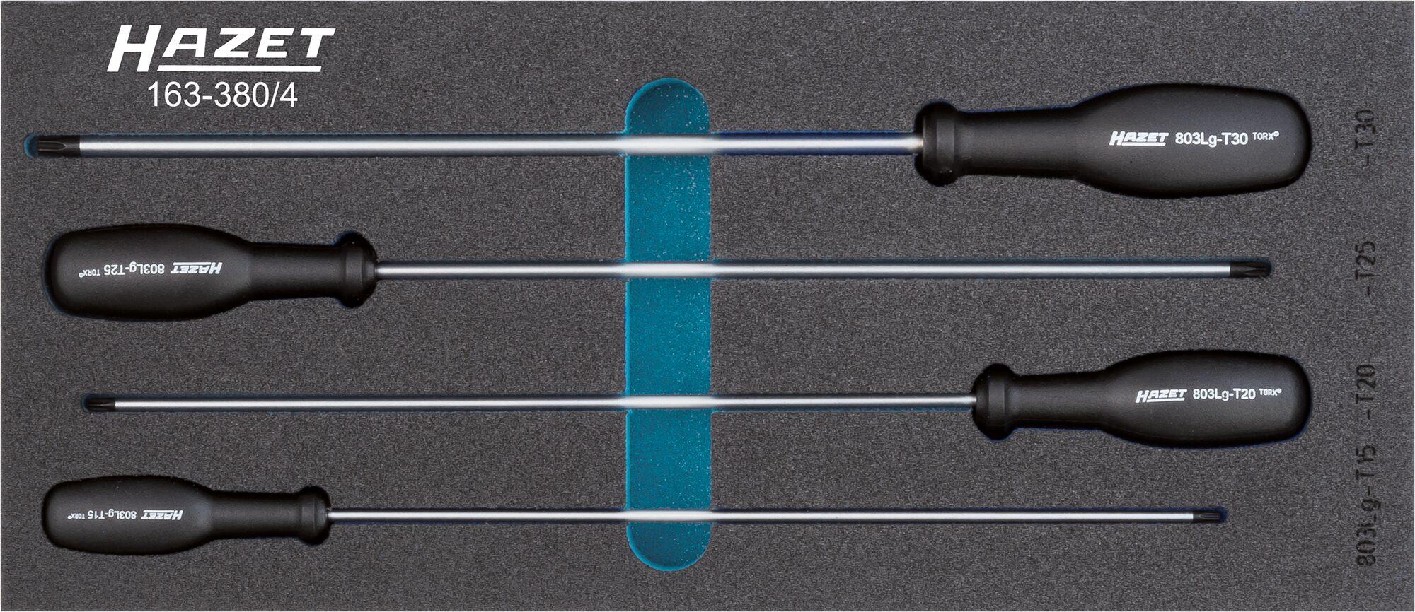 HAZET Schraubendreher Satz TORX® 163-380/4 ∙ Innen TORX® Profil ∙ T15–T30 ∙ Anzahl Werkzeuge: 4
