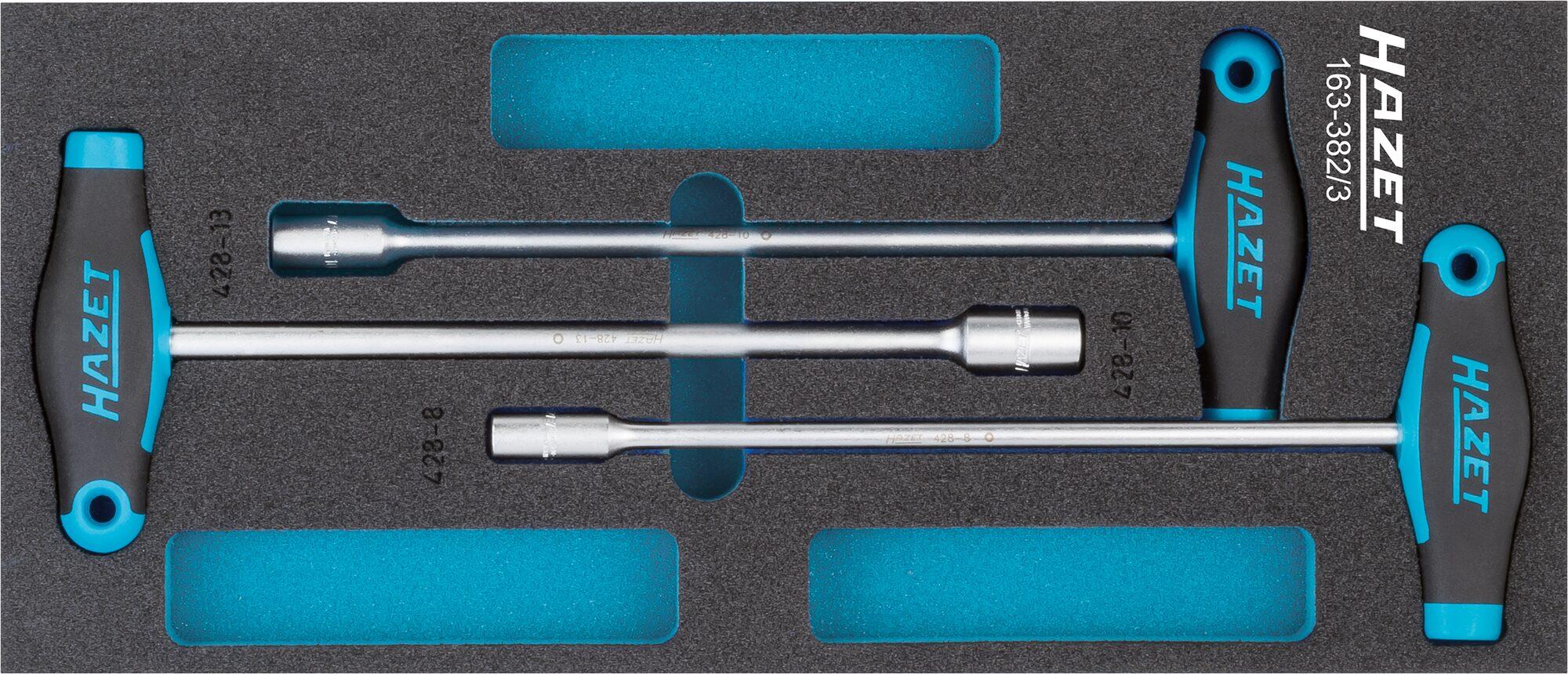HAZET Steckschlüssel Satz ∙ mit T-Griff 163-382/3 ∙ Außen-Sechskant Profil ∙ 8–13 ∙ Anzahl Werkzeuge: 3