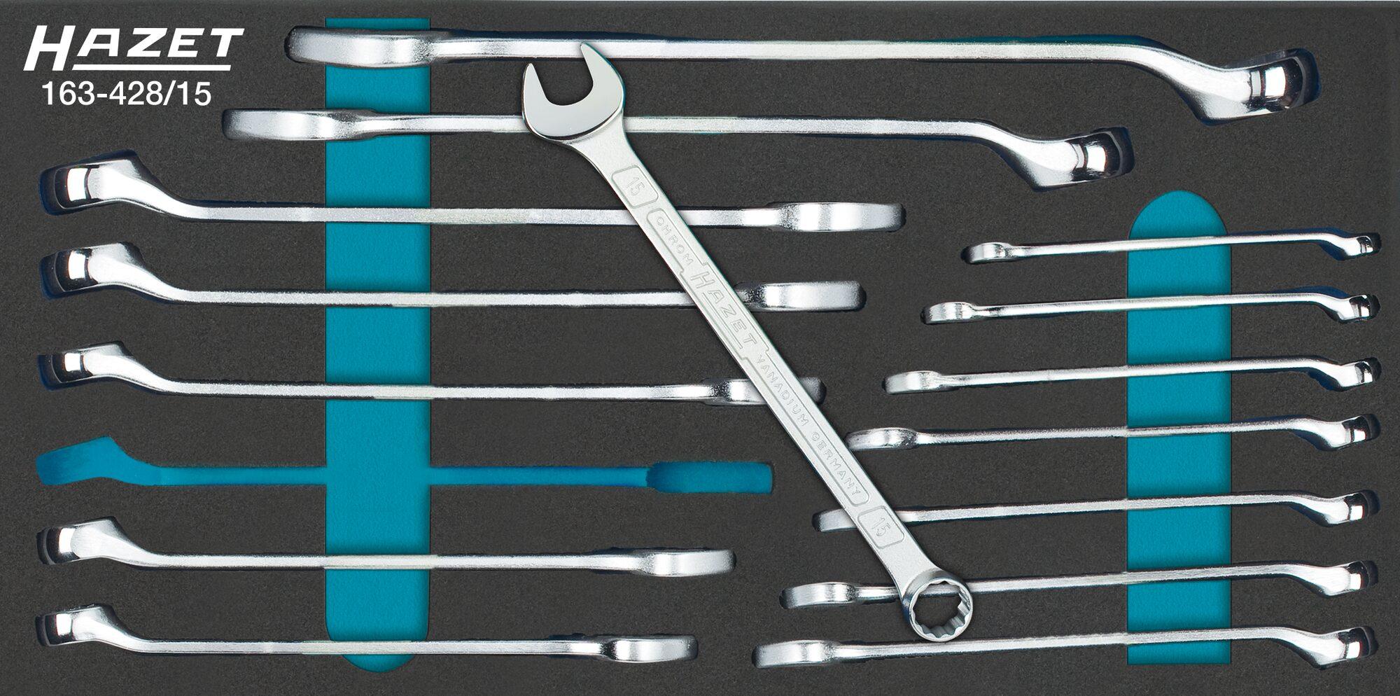 HAZET Ring-Maulschlüssel Satz 163-428/15 ∙ Außen-Doppel-Sechskant Profil ∙ 6–22 ∙ Anzahl Werkzeuge: 15