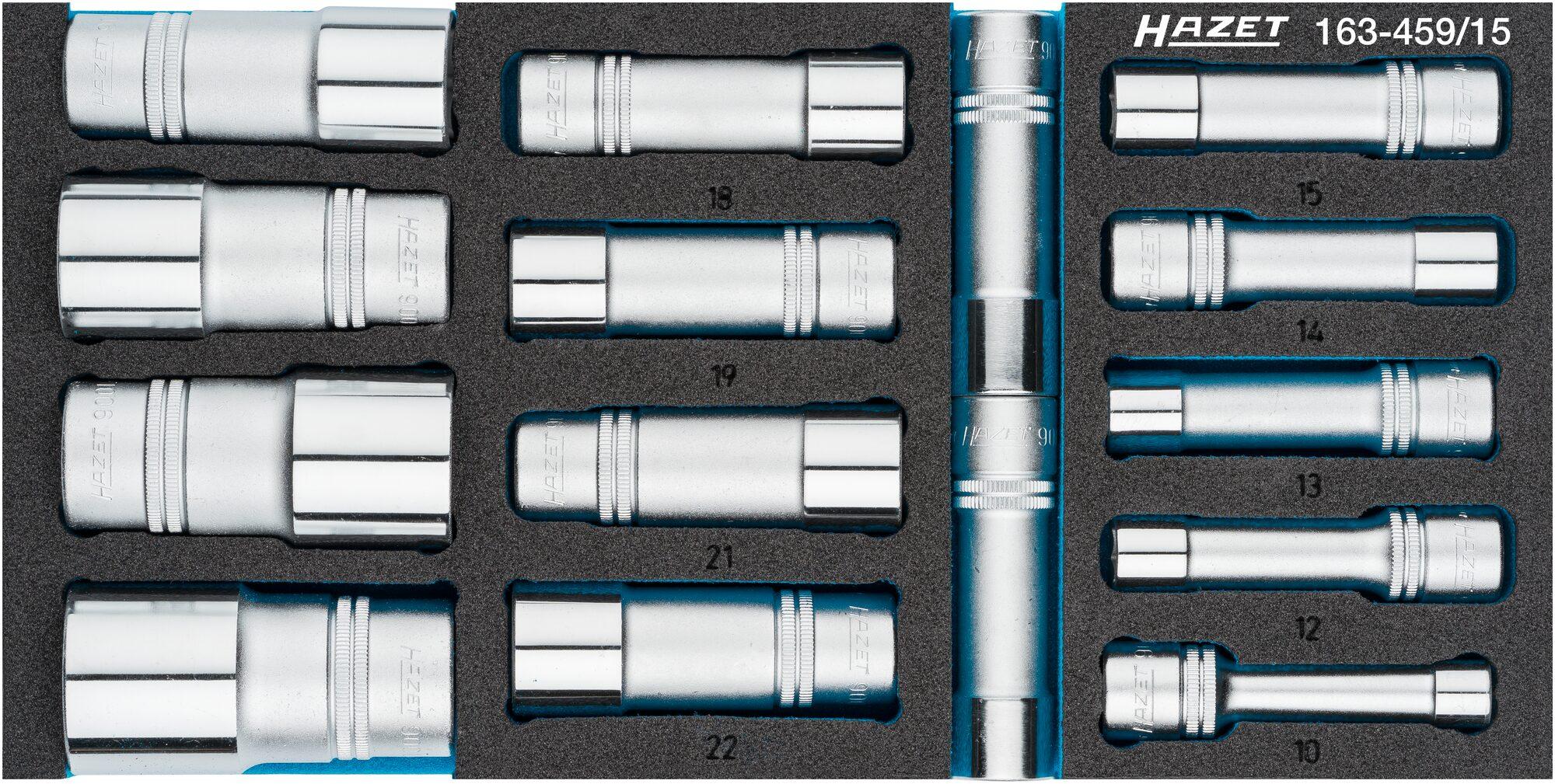 HAZET Steckschlüsseleinsatz Satz 163-459/15 ∙ Vierkant hohl 12,5 mm (1/2 Zoll) ∙ Außen-Sechskant-Tractionsprofil
