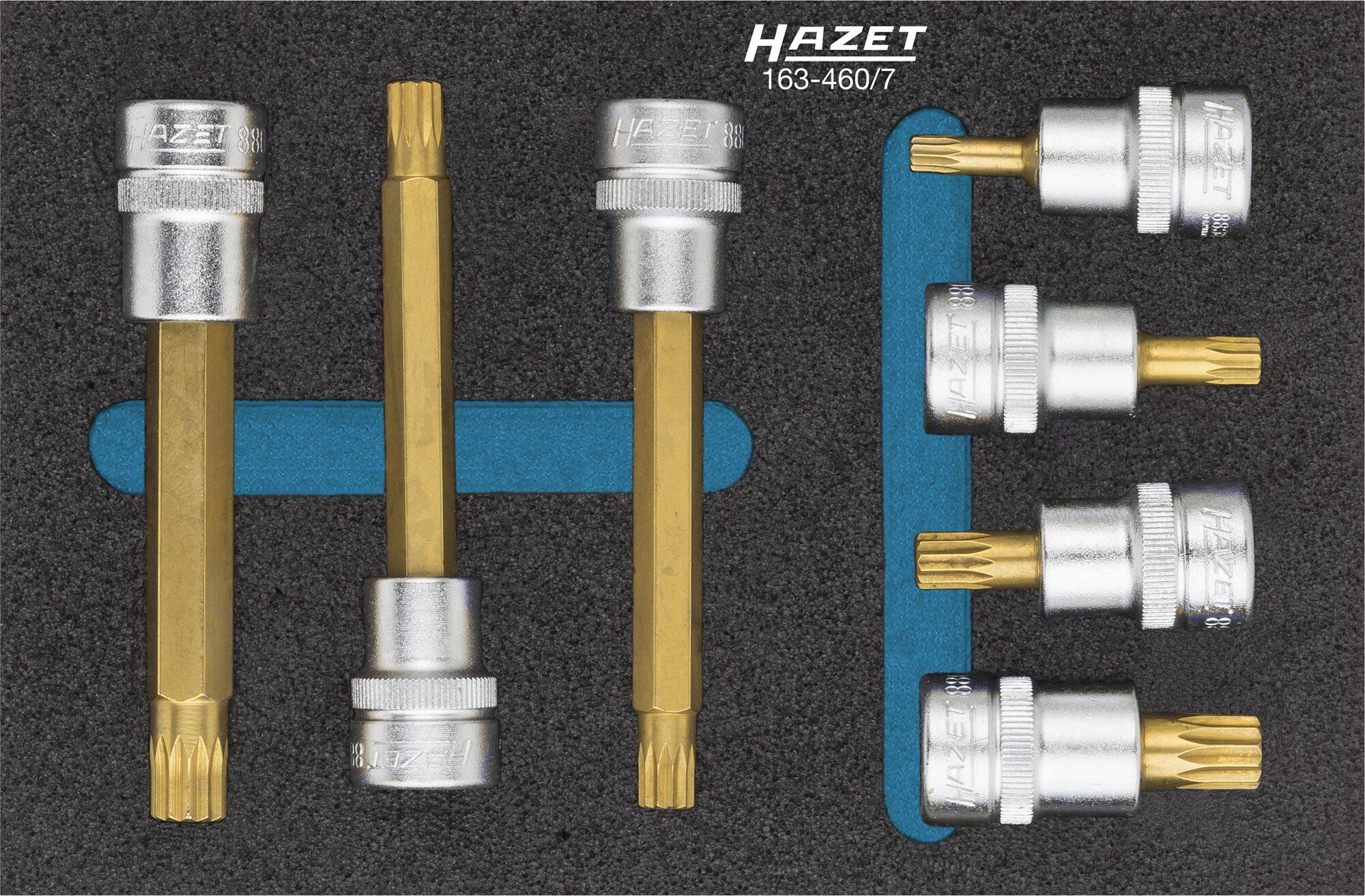 HAZET Schraubendreher-Steckschlüsseleinsatz Satz 163-460/7 ∙ Vierkant hohl 10 mm (3/8 Zoll) ∙ Innen Vielzahn Profil XZN