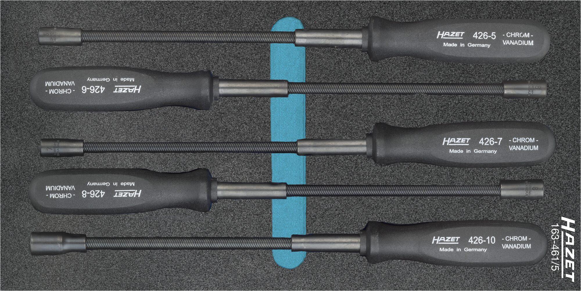 HAZET Flexibler Steckschlüssel Satz 163-461/5 ∙ Außen-Sechskant Profil ∙ 5–10 ∙ Anzahl Werkzeuge: 5