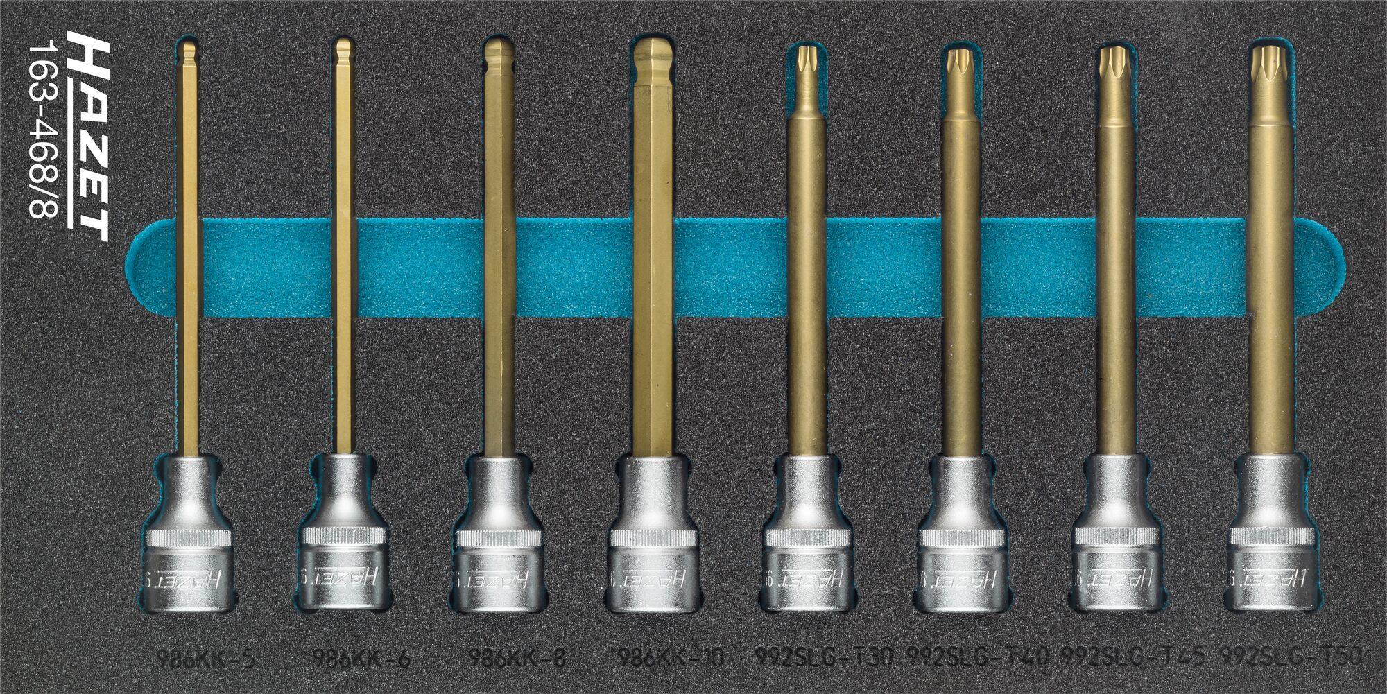 HAZET Schraubendreher-Steckschlüsseleinsatz Satz 163-468/8 ∙ Vierkant hohl 12,5 mm (1/2 Zoll) ∙ Anzahl Werkzeuge: 8