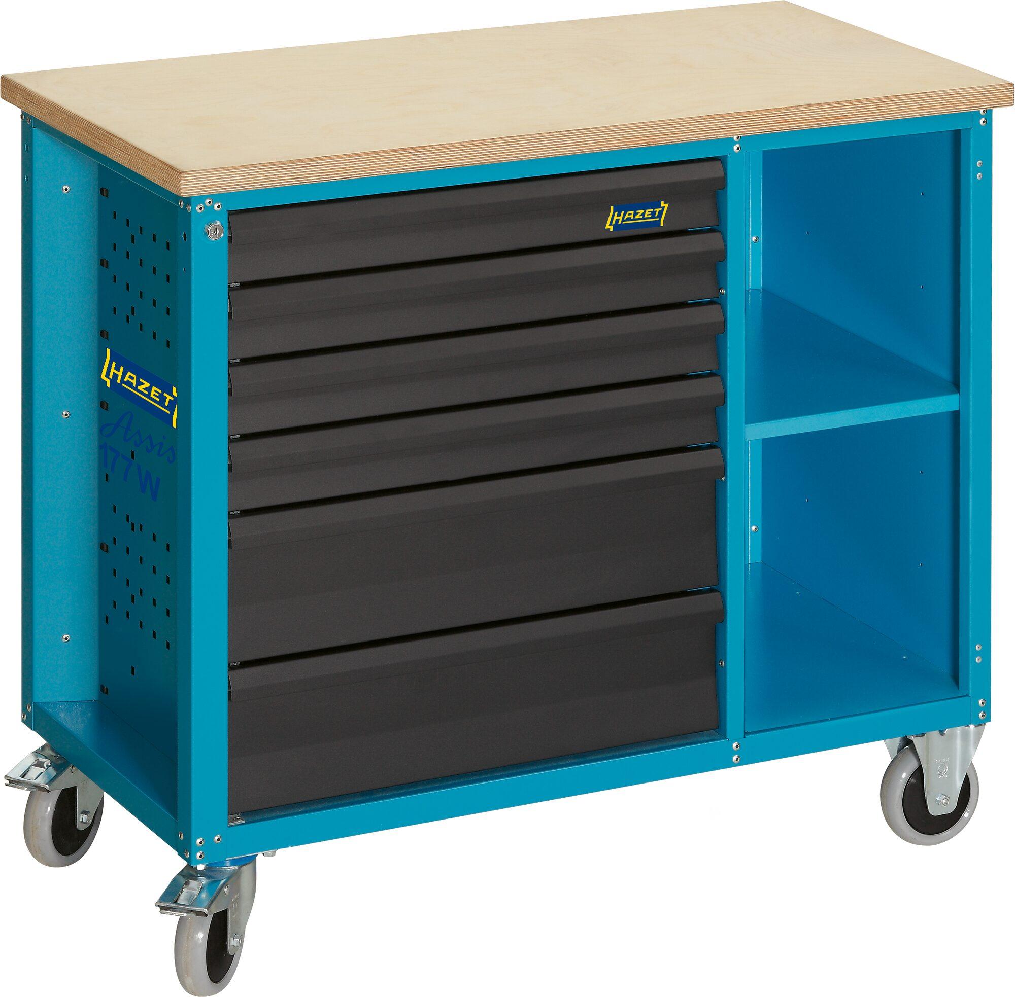 HAZET Fahrbare Werkbank 177W-6 ∙ Schubladen, flach: 4x 79x527x348 mm