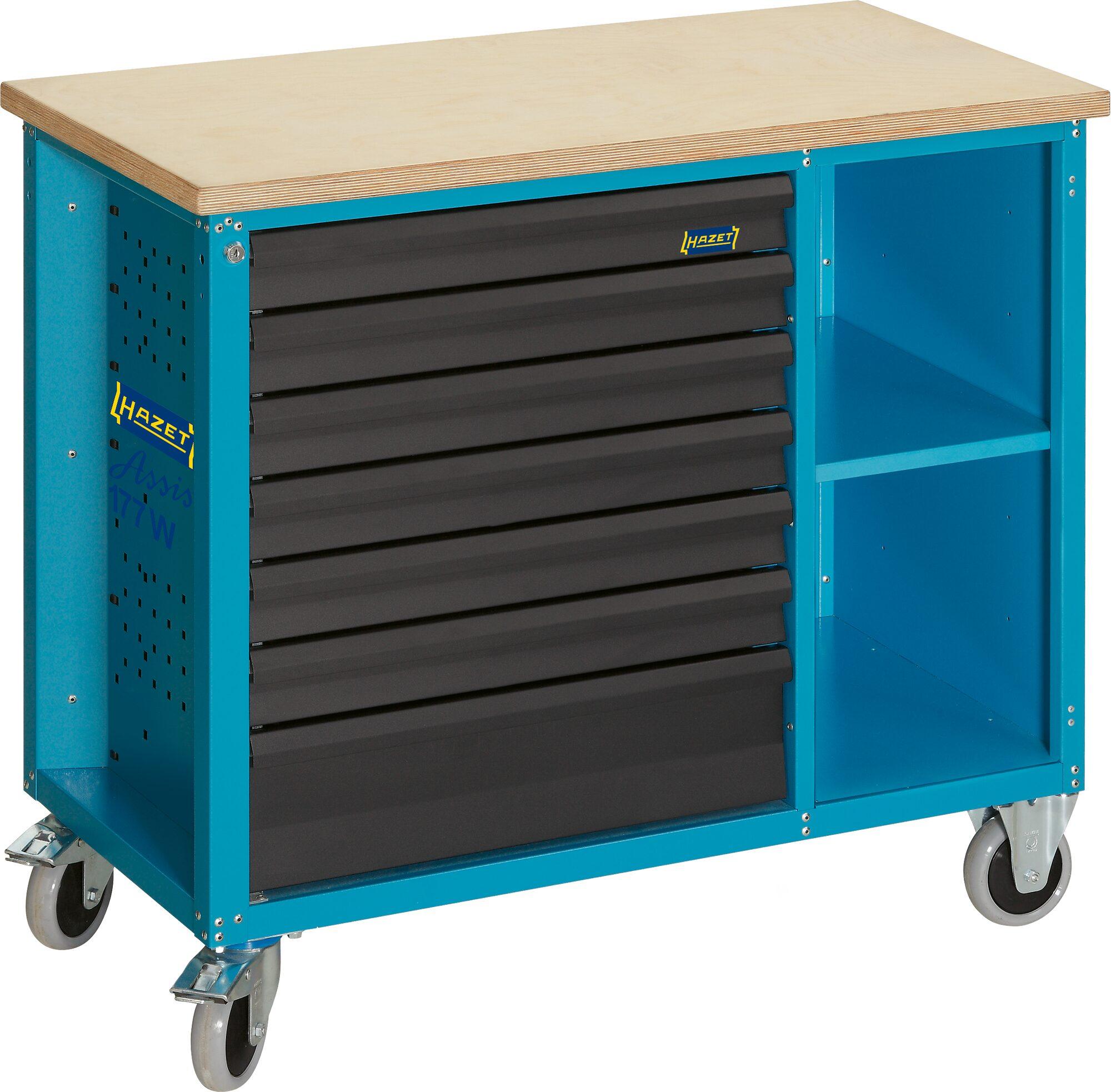 HAZET Fahrbare Werkbank 177W-7 ∙ Schubladen, flach: 6x 79x527x348 mm