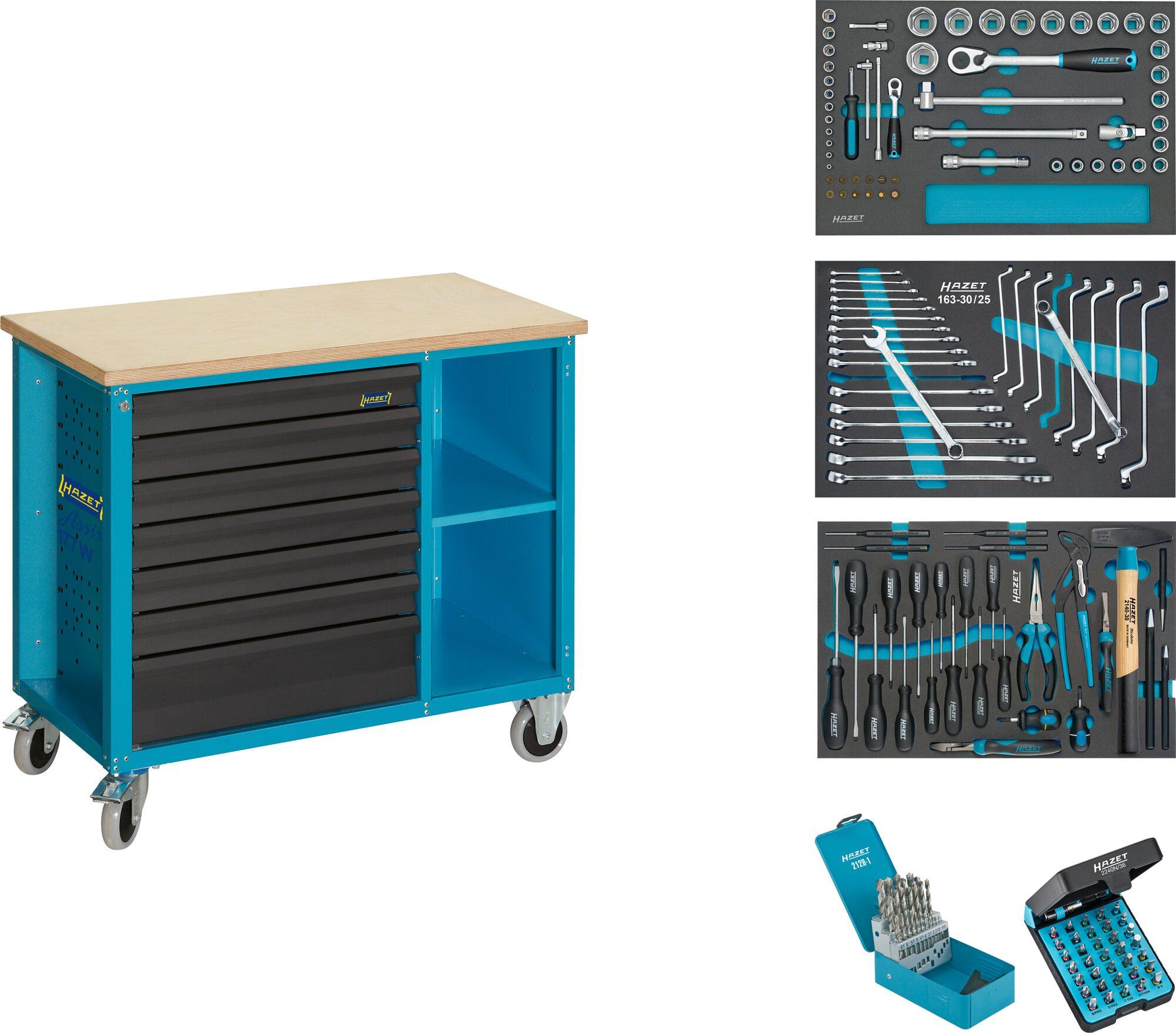 HAZET Fahrbare Werkbank ∙ mit Sortiment 177W-7/169 ∙ Schubladen, flach: 6x 79x527x348 mm