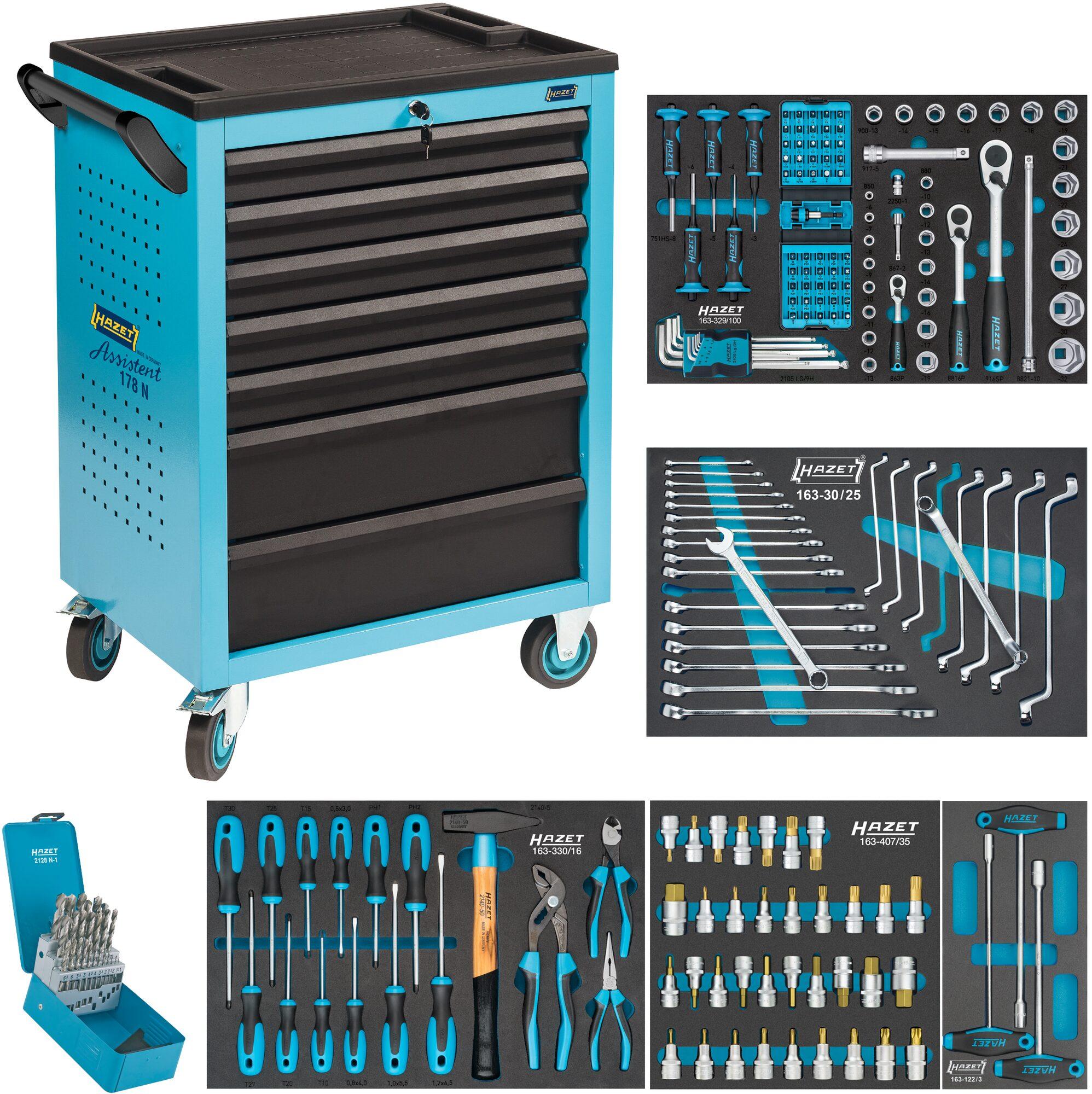 HAZET Werkstattwagen Assistent 178 N-7 ∙ mit 204 Werkzeugen 178N-7/204 ∙ Anzahl Werkzeuge: 204