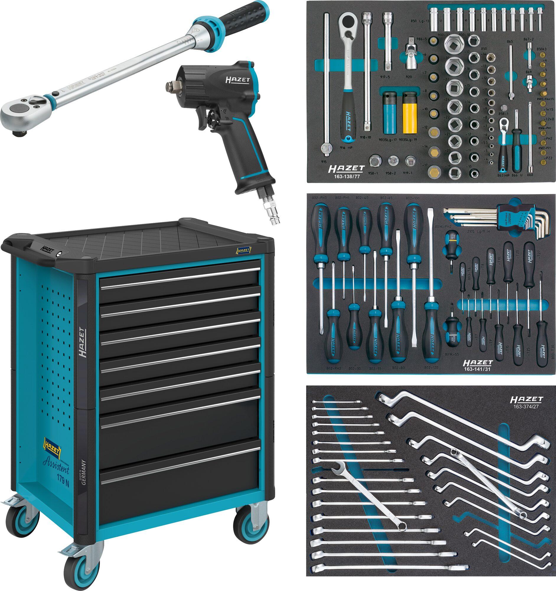 HAZET Werkstattwagen Assistent 179N-7/137 ∙ Schubladen, flach: 5x 81x522x398 mm ∙ Anzahl Werkzeuge: 137