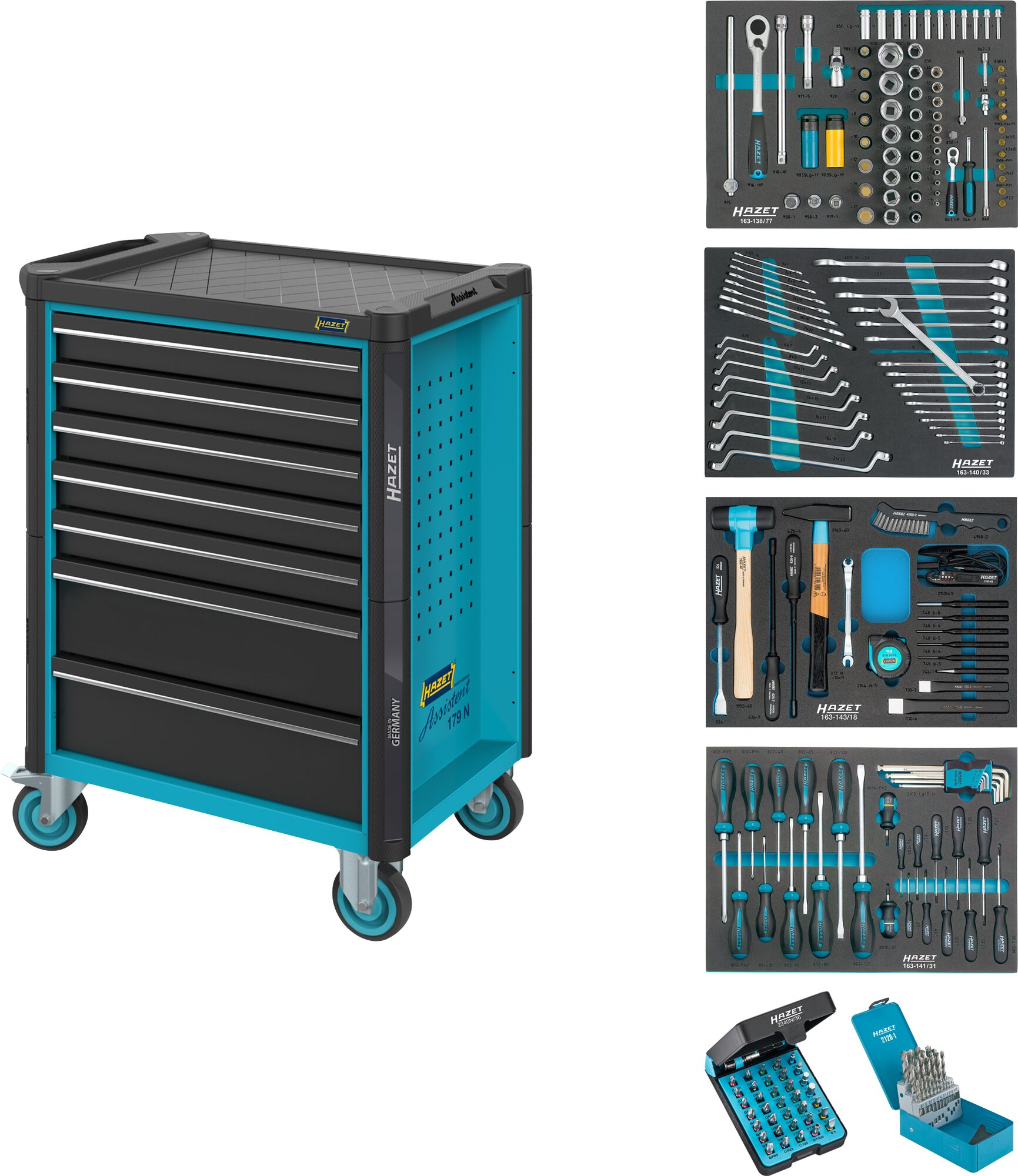 HAZET Werkstattwagen Assistent 179N-7/220 ∙ Schubladen, flach: 5x 81x522x398 mm ∙ Anzahl Werkzeuge: 220