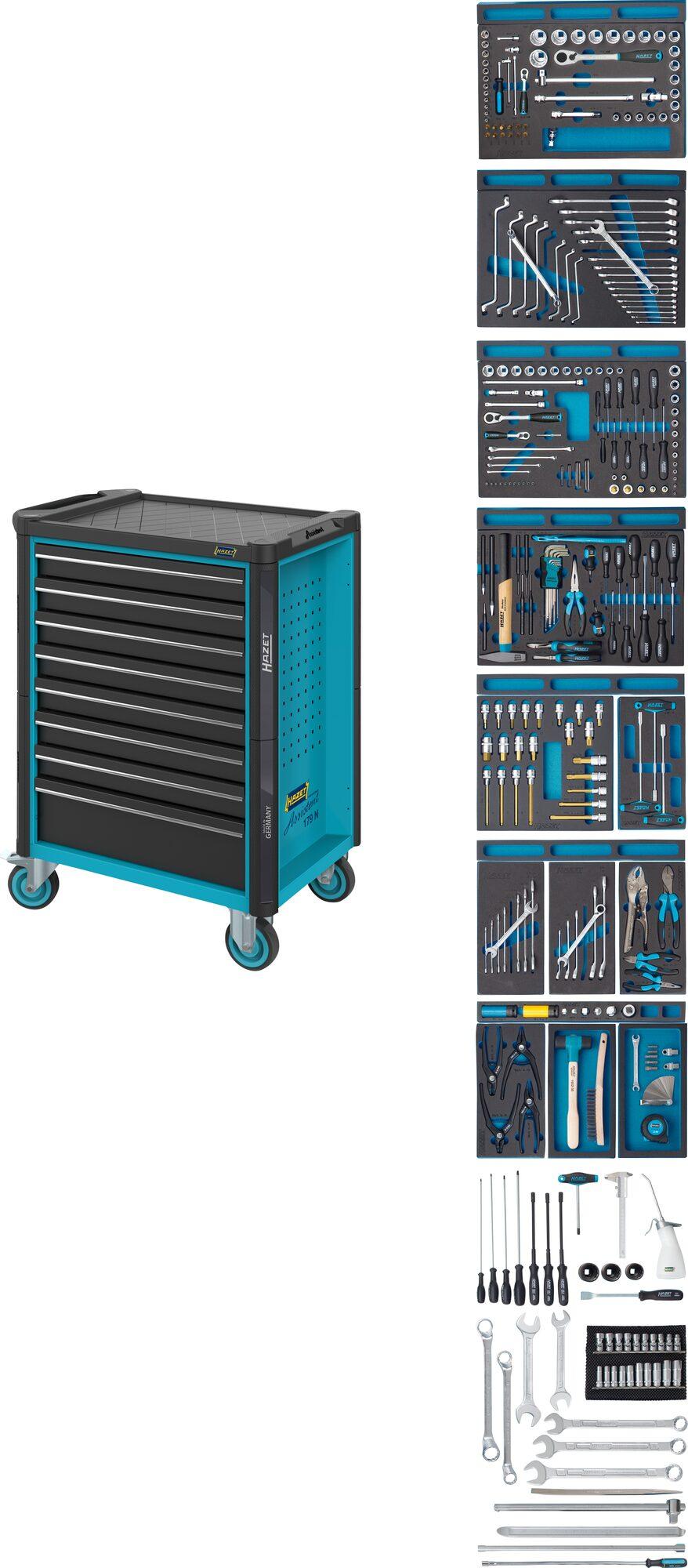 HAZET Werkstattwagen Assistent 179N-8-2700/296 ∙ Schubladen, flach: 7x 81x522x398 mm ∙ Anzahl Werkzeuge: 296