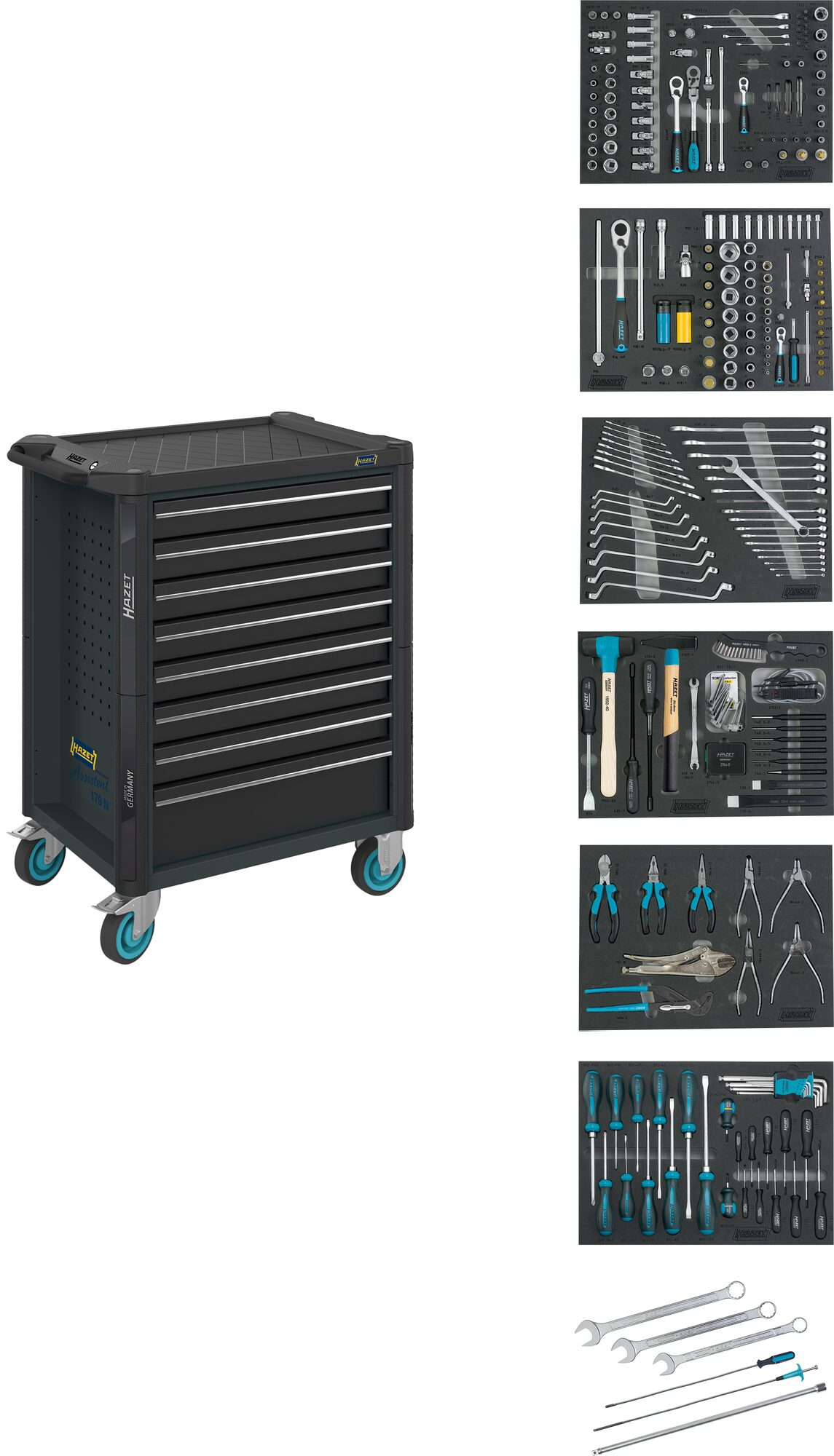 HAZET Werkstattwagen Assistent 179NT-8-RAL7016/2 ∙ Schubladen, flach: 7x 81x522x398 mm