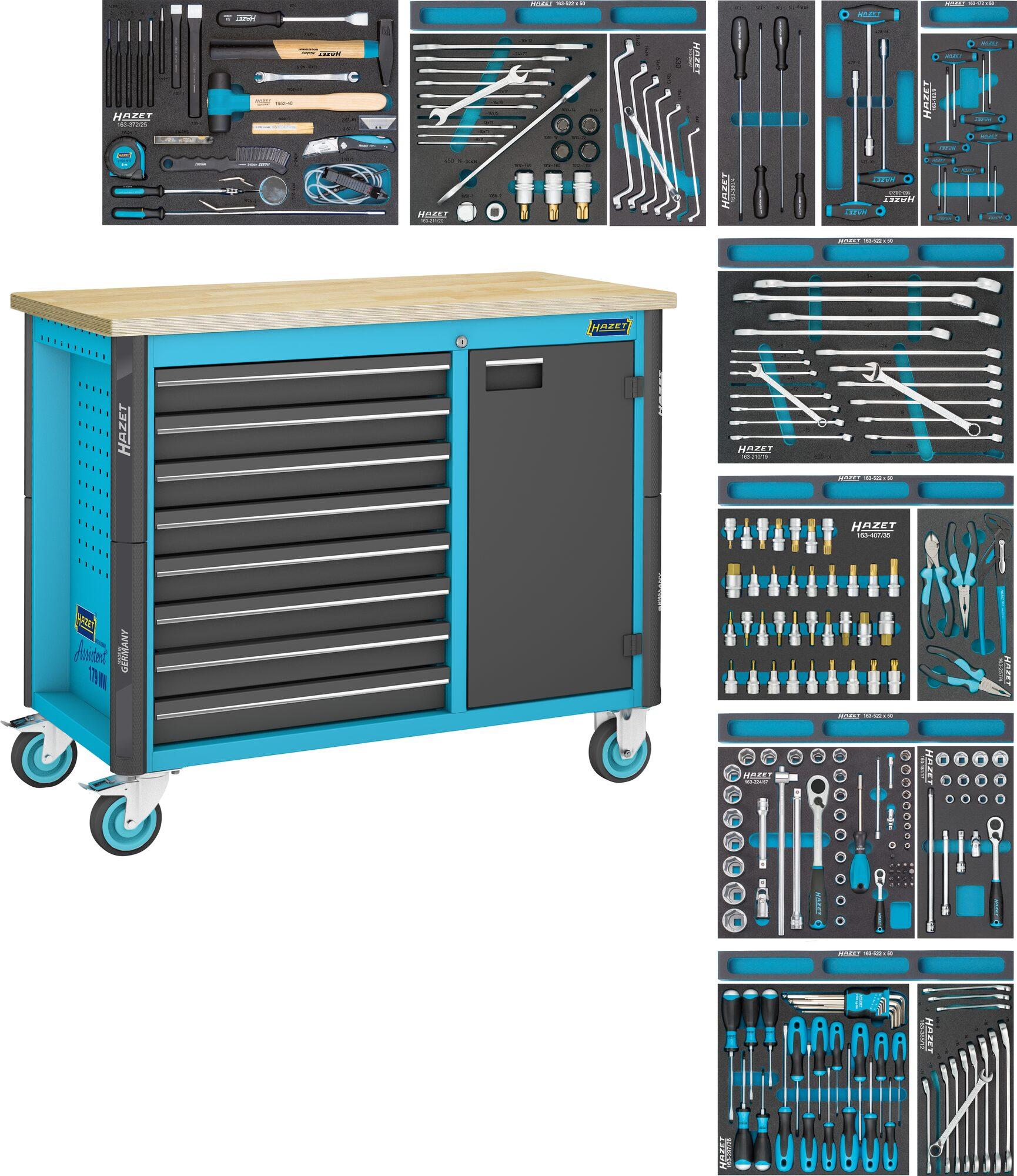 HAZET Fahrbare Werkbank 179NW-8/244 ∙ Schubladen, flach: 8x 81x522x398 mm ∙ Anzahl Werkzeuge: 244