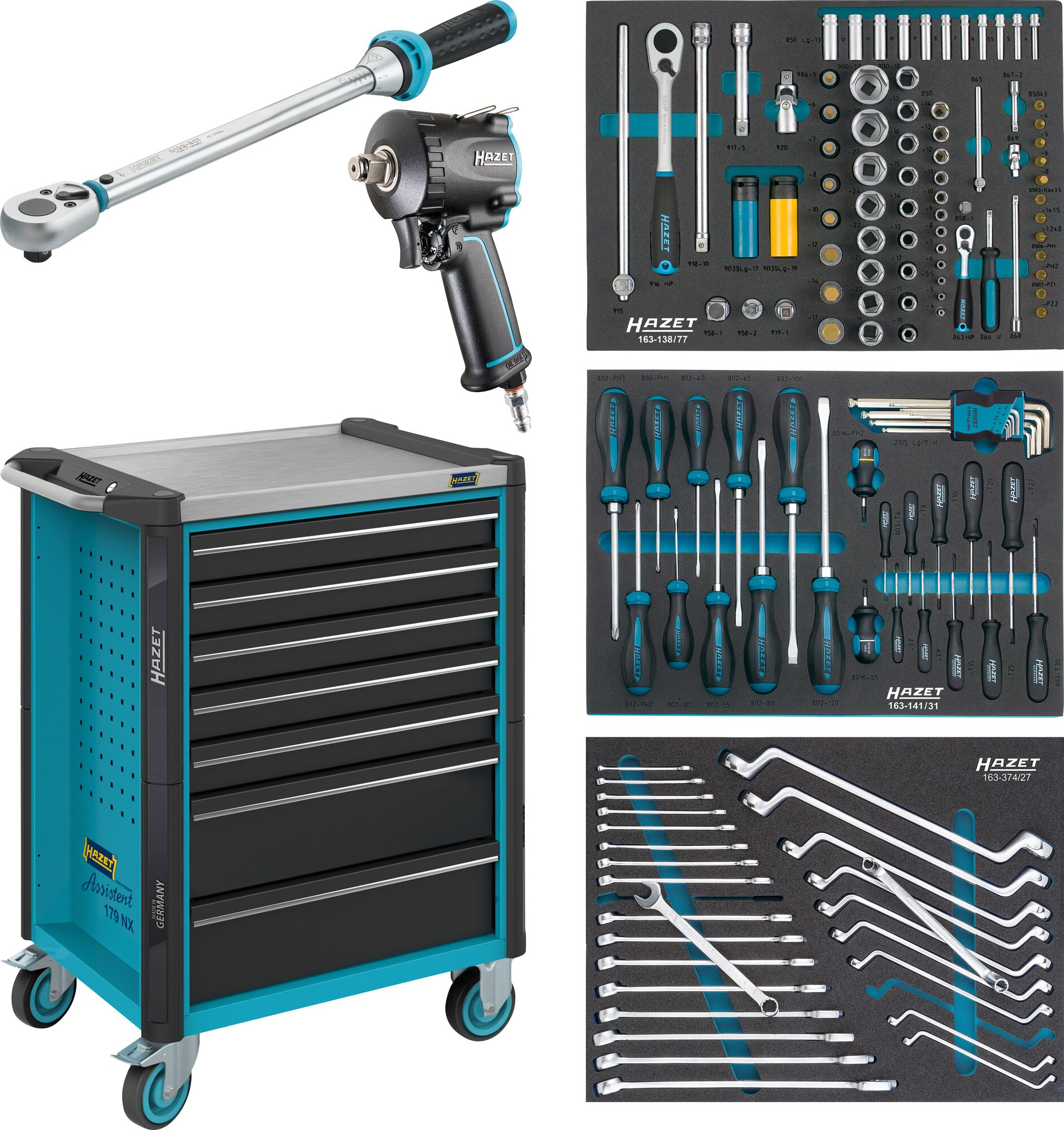 HAZET Werkstattwagen Assistent 179NX-7/137 ∙ Schubladen, flach: 5x 81x522x398 mm ∙ Anzahl Werkzeuge: 137