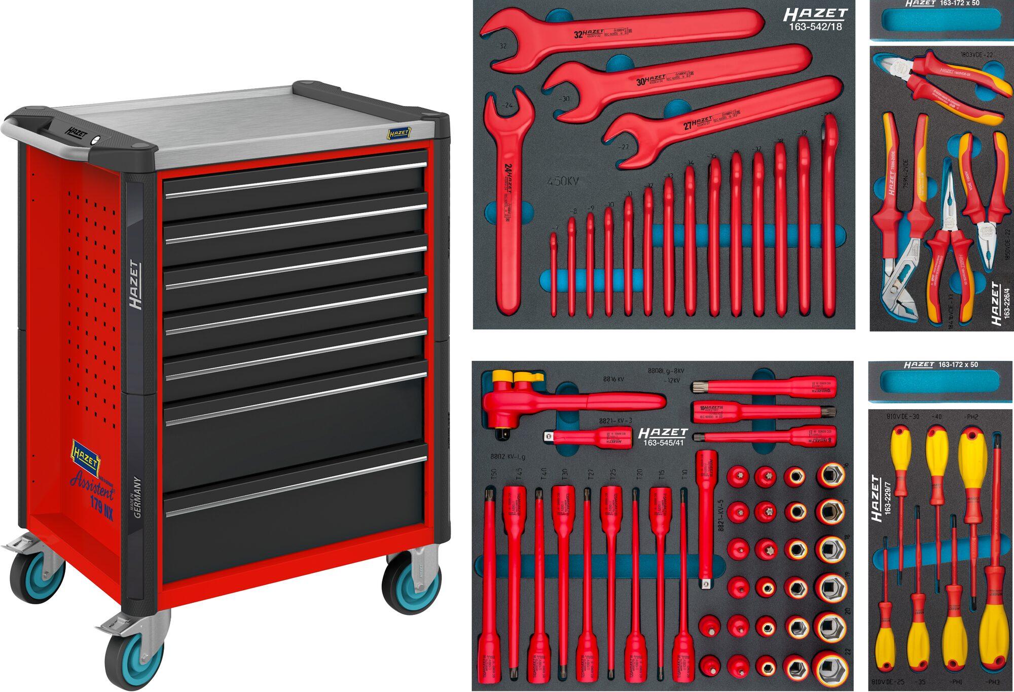 HAZET Werkstattwagen Assistent 179NX-7/70KV ∙ Schubladen, flach: 5x 81x522x398 mm ∙ Anzahl Werkzeuge: 70