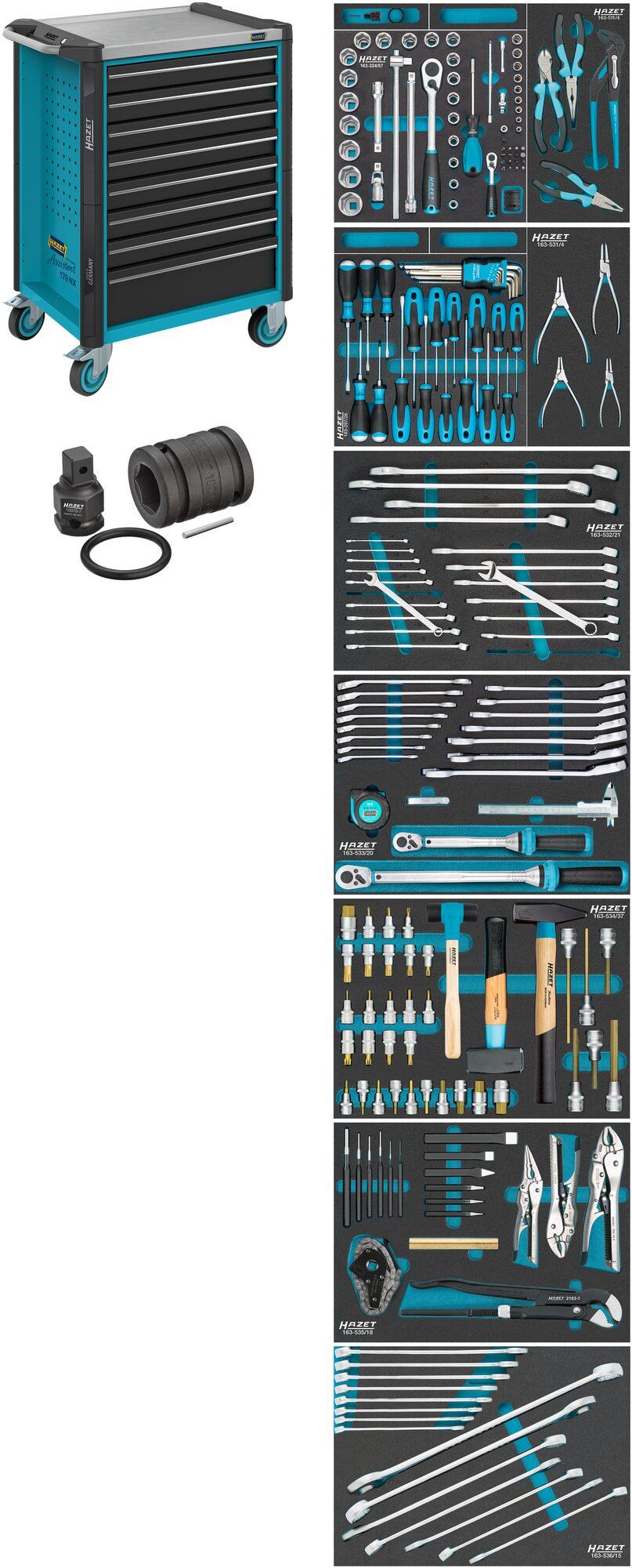 HAZET Werkstattwagen Assistent 179NX-8/206 ∙ Schubladen, flach: 8x 81x522x398 mm ∙ Anzahl Werkzeuge: 206