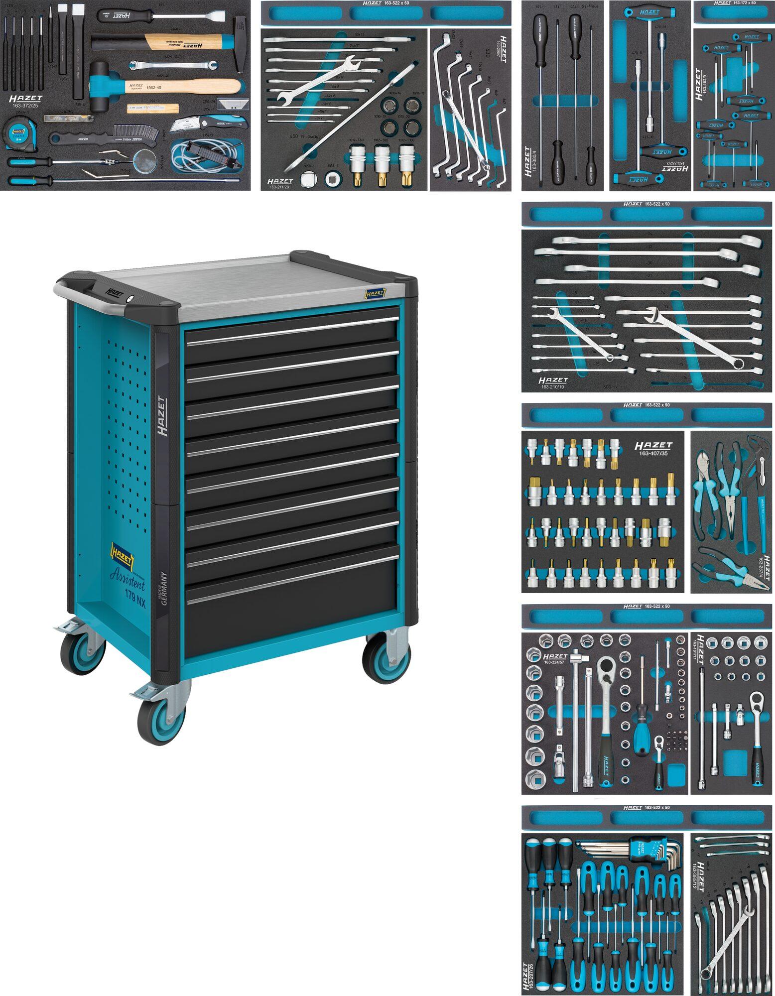 HAZET Werkstattwagen Assistent 179NX-8/244 ∙ Schubladen, flach: 8x 81x522x398 mm ∙ Anzahl Werkzeuge: 244