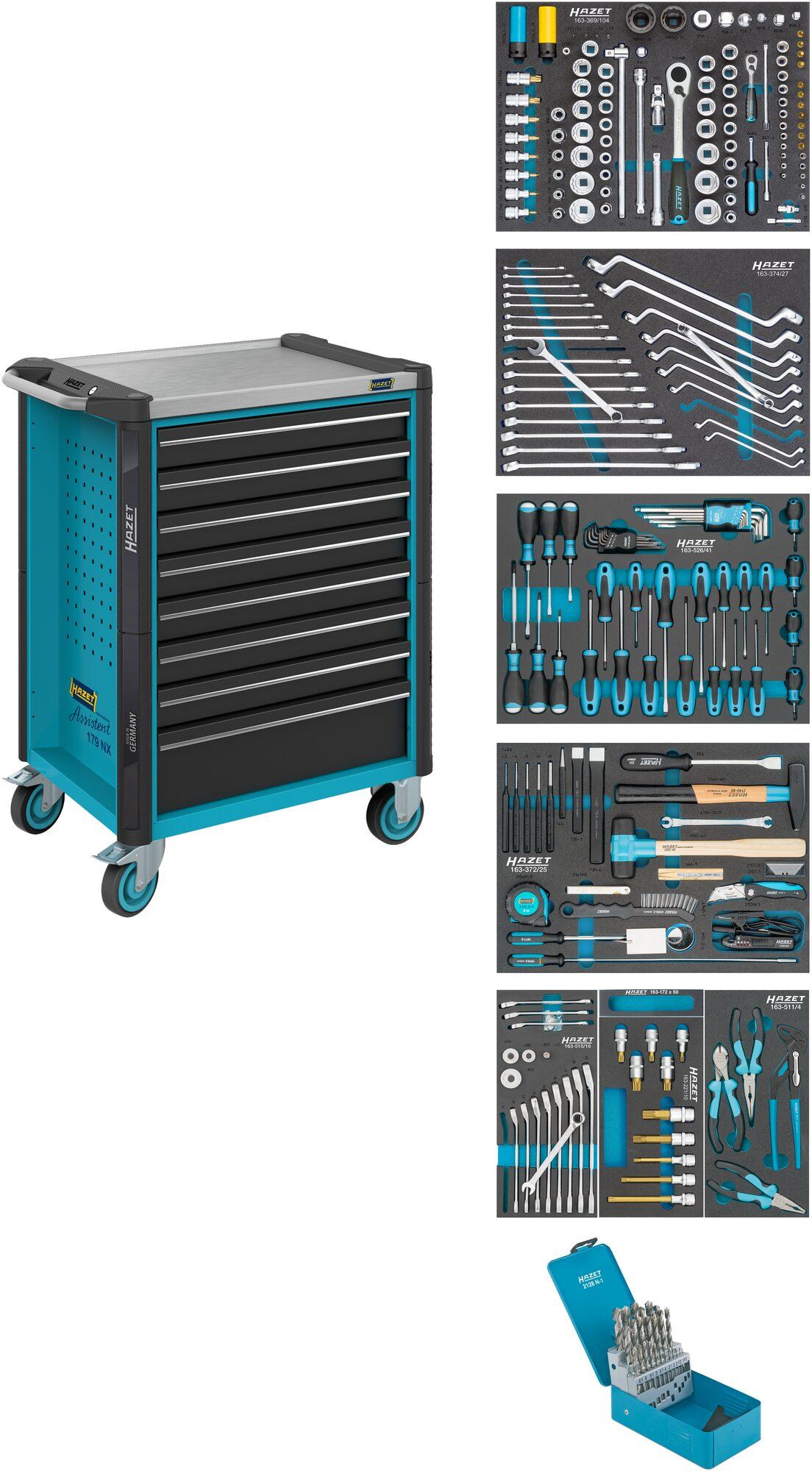 HAZET Werkstattwagen Assistent 179NX-8/252 ∙ Schubladen, flach: 8x 81x522x398 mm ∙ Anzahl Werkzeuge: 252