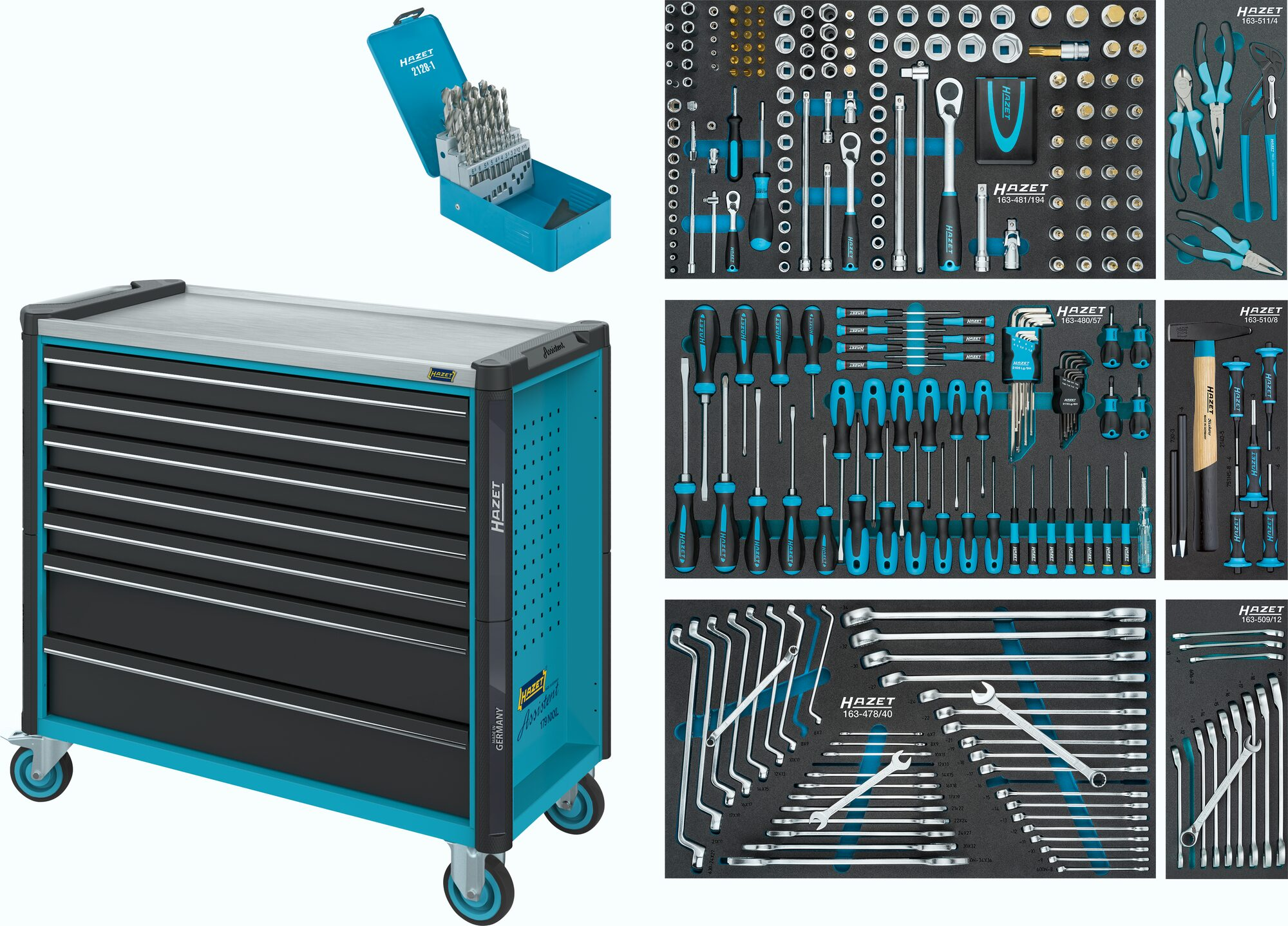HAZET Werkstattwagen Assistent 179NXXL-7/340 ∙ Schubladen, flach: 5x 81x870x398 mm ∙ Anzahl Werkzeuge: 340