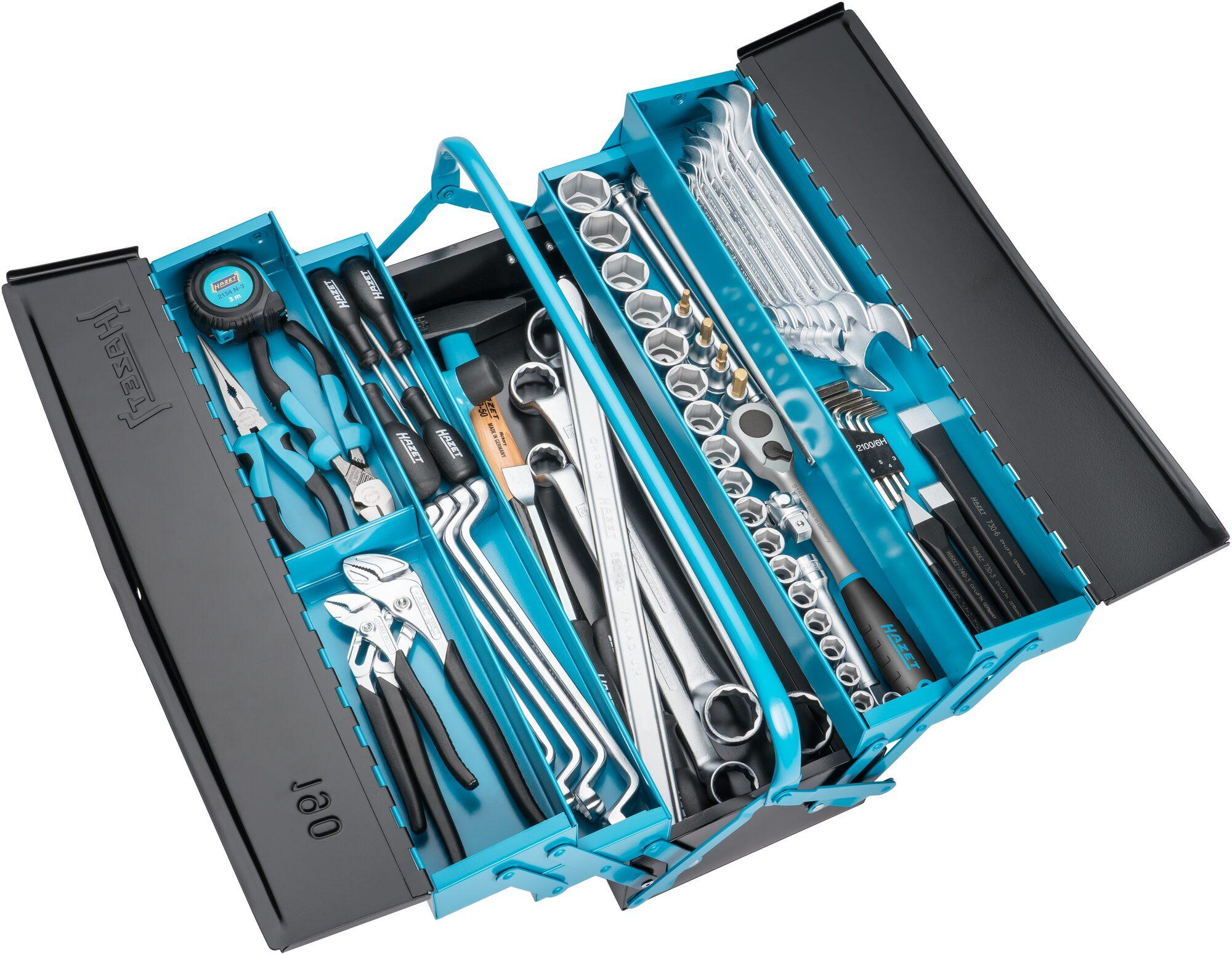 HAZET Metall-Werkzeugkasten ∙ mit Sortiment 190/80 ∙ Anzahl Werkzeuge: 80